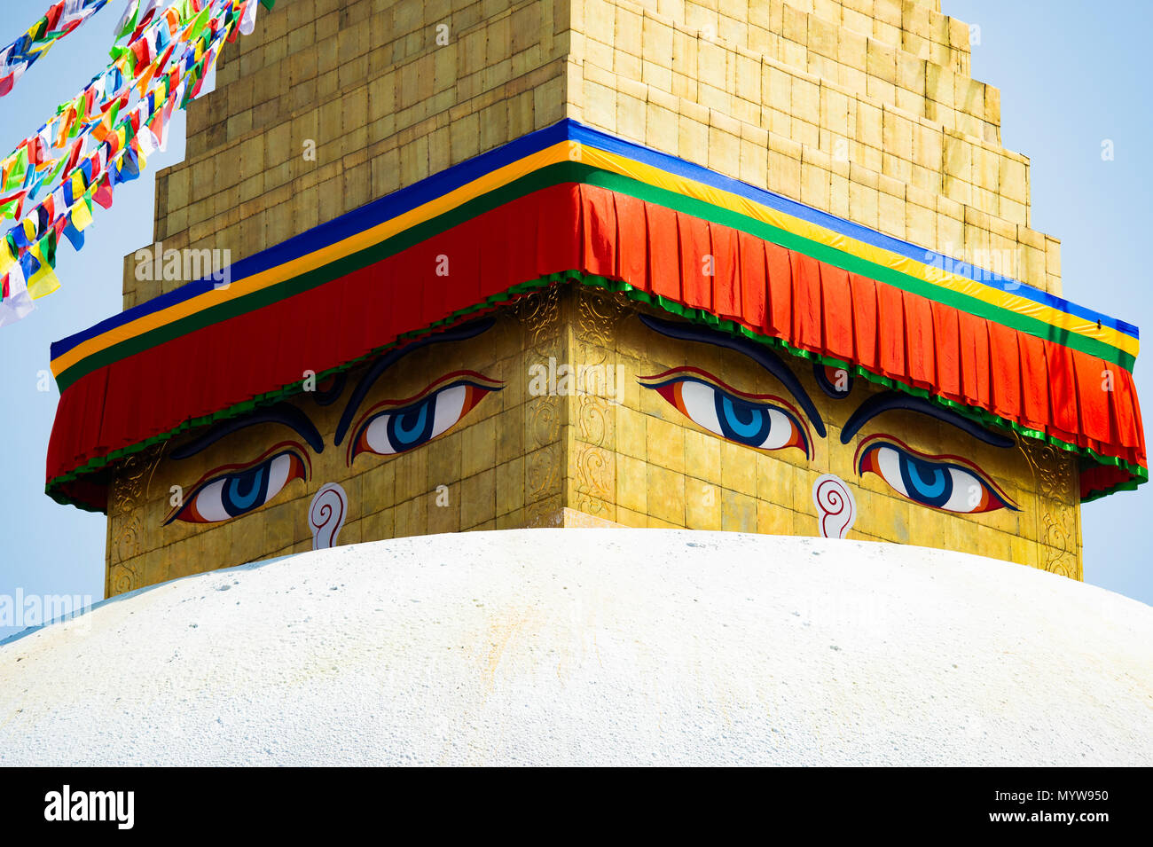 Close-up view of wisdom eye on a Swayambhunath Stupa also known as Monkey Temple. Swayambhunath Stupa is an ancient religious architecture atop a hill Stock Photo