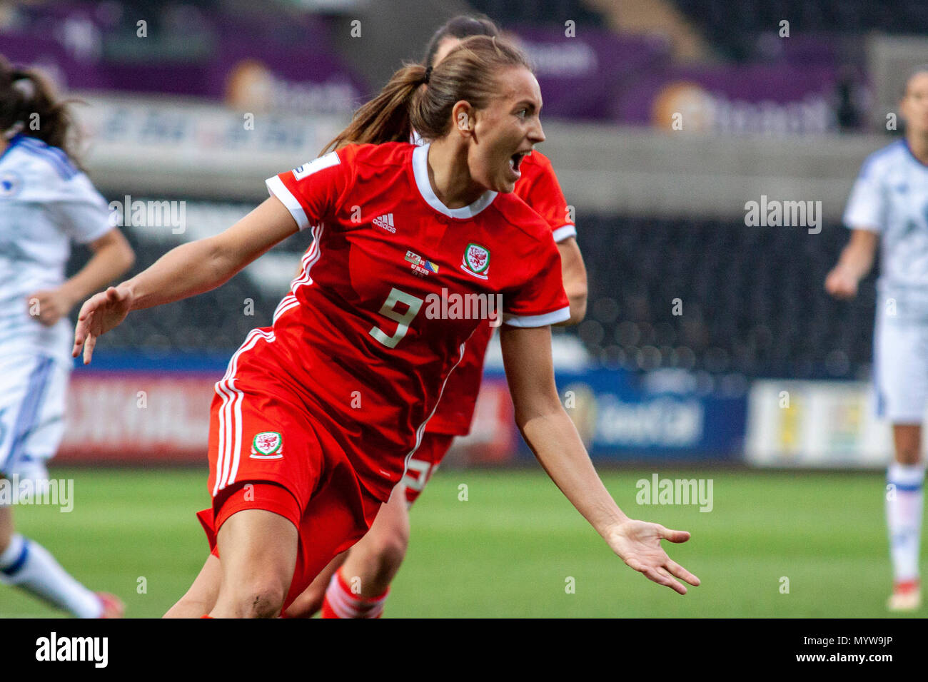 Swansea, Wales, UK. 7th June, 2018. Kayleigh Green scores against Bosnia-Herzegovina at the Liberty Stadium. Lewis Mitchell/Alamy Live News. - Stock Image