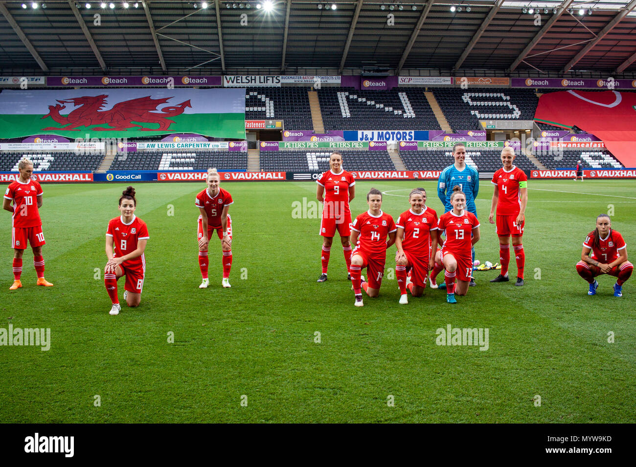 Swansea, Wales, UK. 7th June, 2018. Wales team. Wales face Bosnia-Herzegovina at the Liberty Stadium. Lewis Mitchell/Alamy Live News. - Stock Image