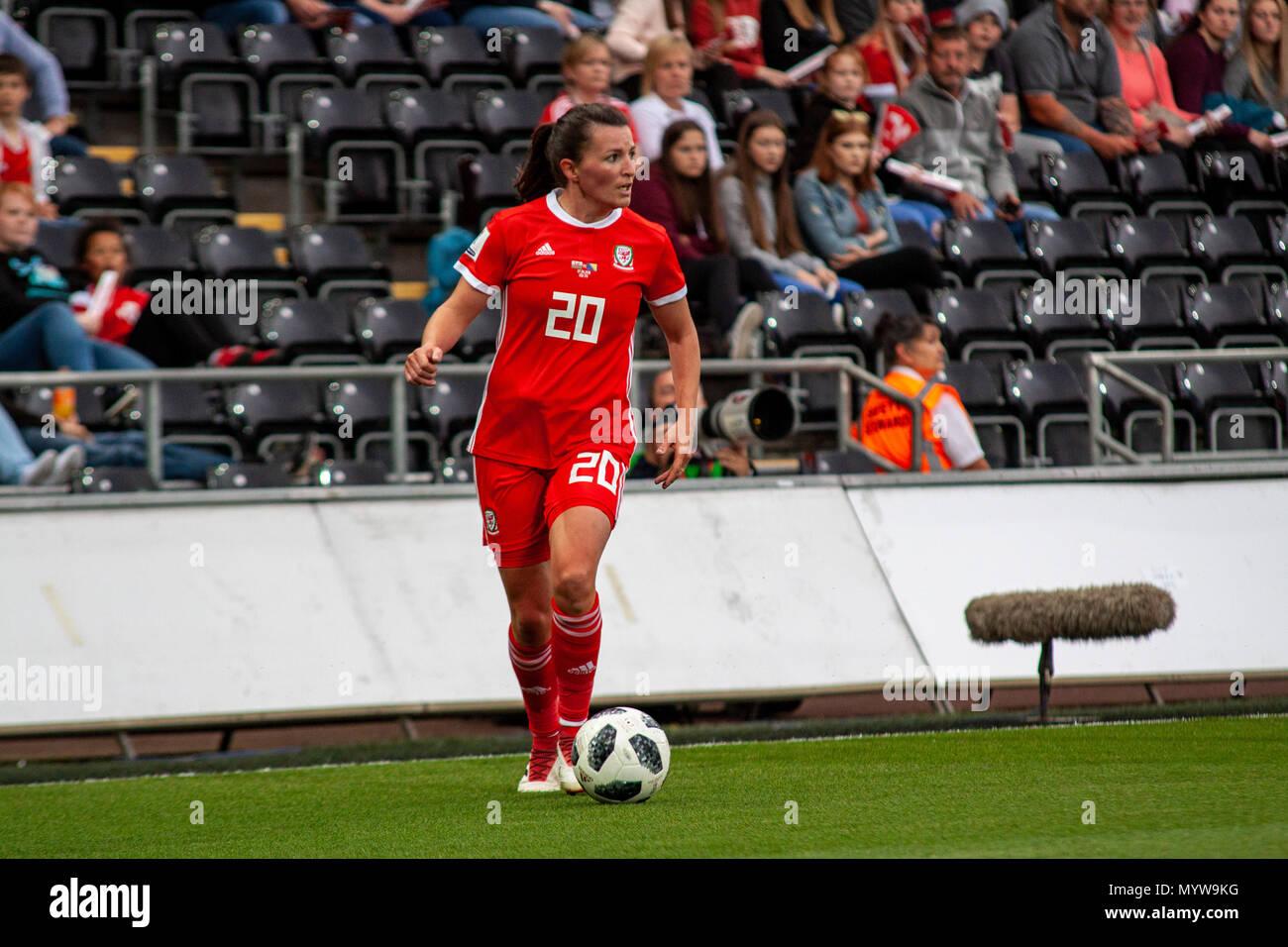 Swansea, Wales, UK. 7th June, 2018. Wales' Helen Ward faces Bosnia-Herzegovina at the Liberty Stadium. Lewis Mitchell/Alamy Live News. - Stock Image