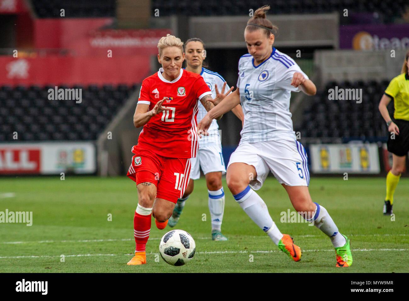 Swansea, Wales, UK. 7th June, 2018. Wales' Jess Fishlock faces Bosnia-Herzegovina at the Liberty Stadium. Lewis Mitchell/Alamy Live News. - Stock Image