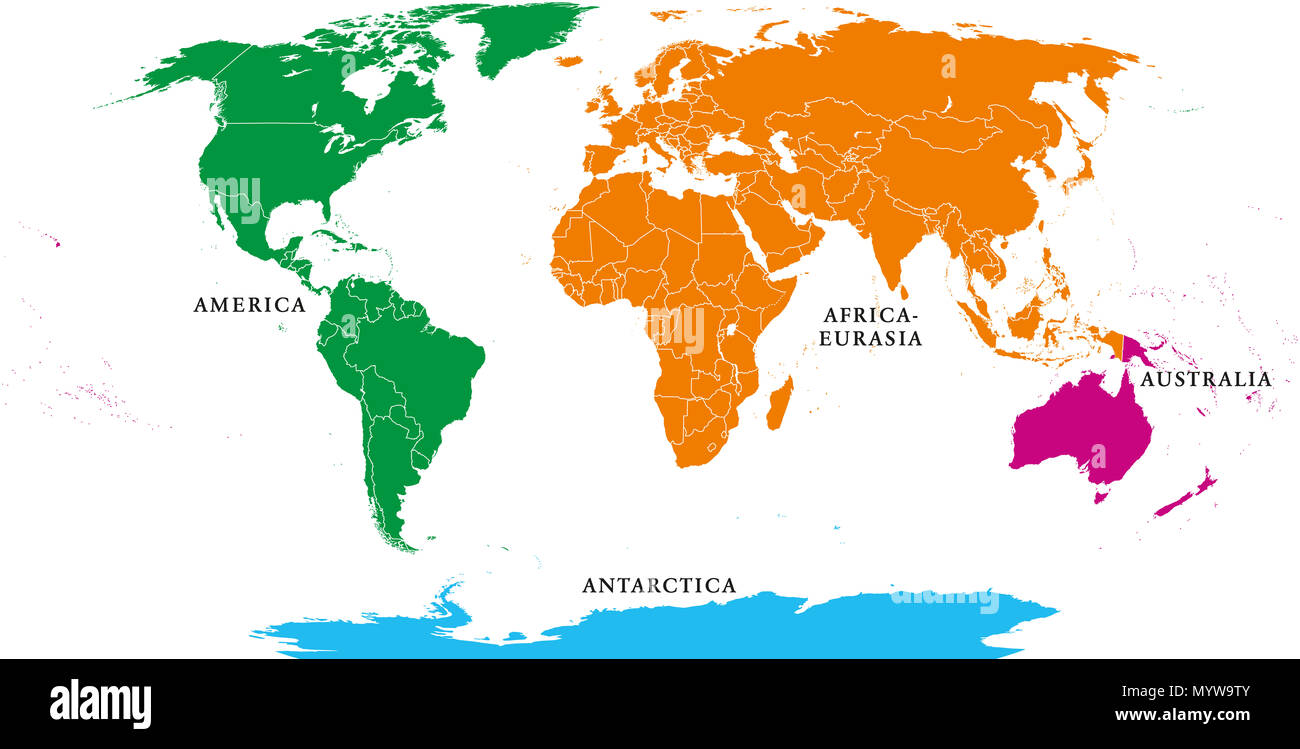 Four continents. World map with national borders. America, Africa-Eurasia, Australia and Antarctica. Political map under Robinson projection. - Stock Image