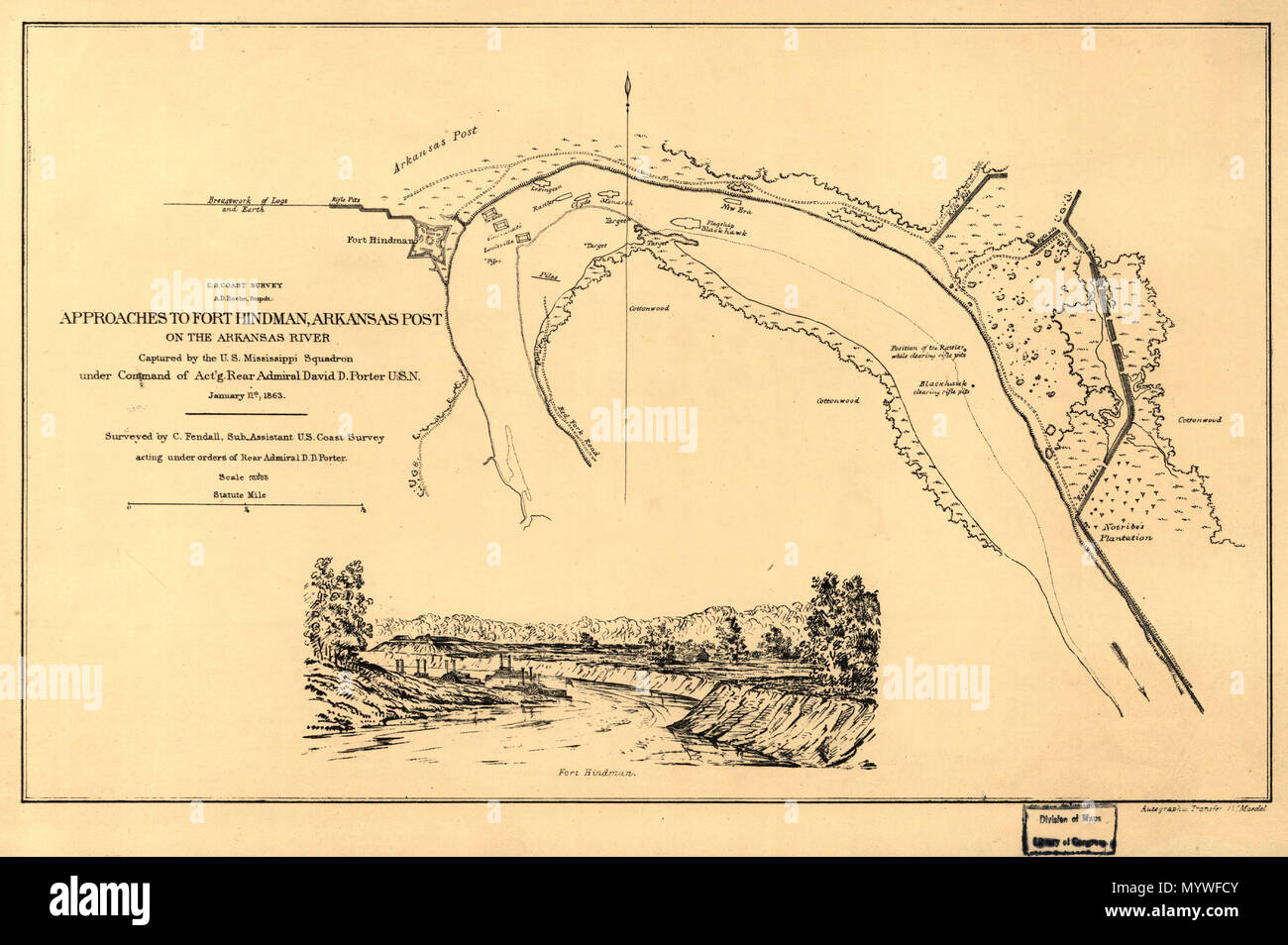 English: Annotated in pencil on verso: Approaches to Fort Hindman ...