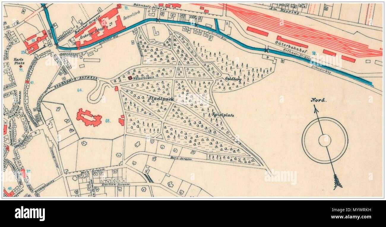 Karte Mit Hausnummern.Deutsch Ausschnitt Der Karte Mit Dem Bereich Stadtpark Von Eisenach