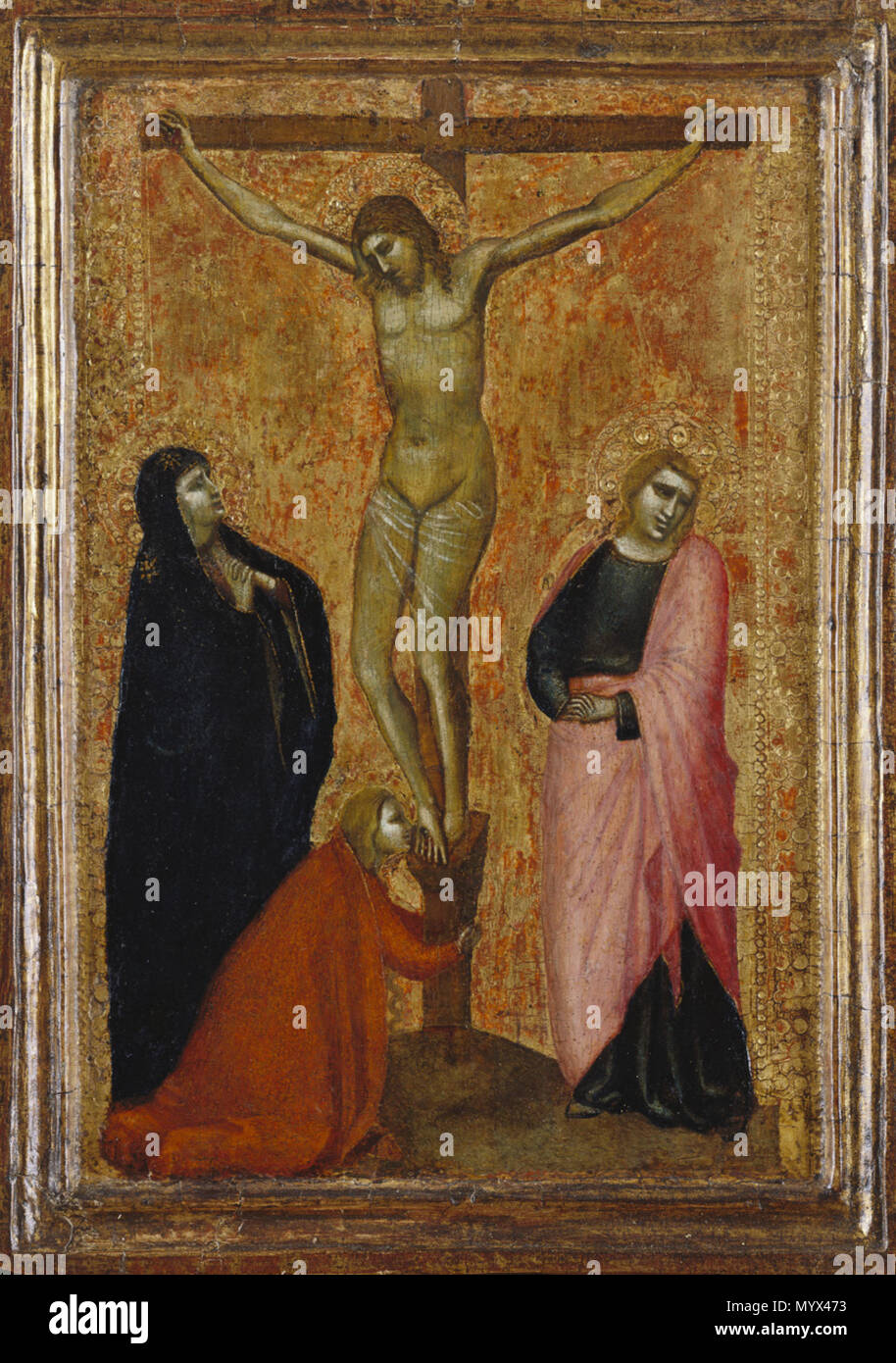 . Crucifixion with the Virgin Mary, St. John the Evangelist, and St. Mary Magdalene . circa 1365 7 Crucifixion with the Virgin Mary, St. John the Evangelist, and St. Mary Magdalene - Allegretto Nuzi - Stock Image