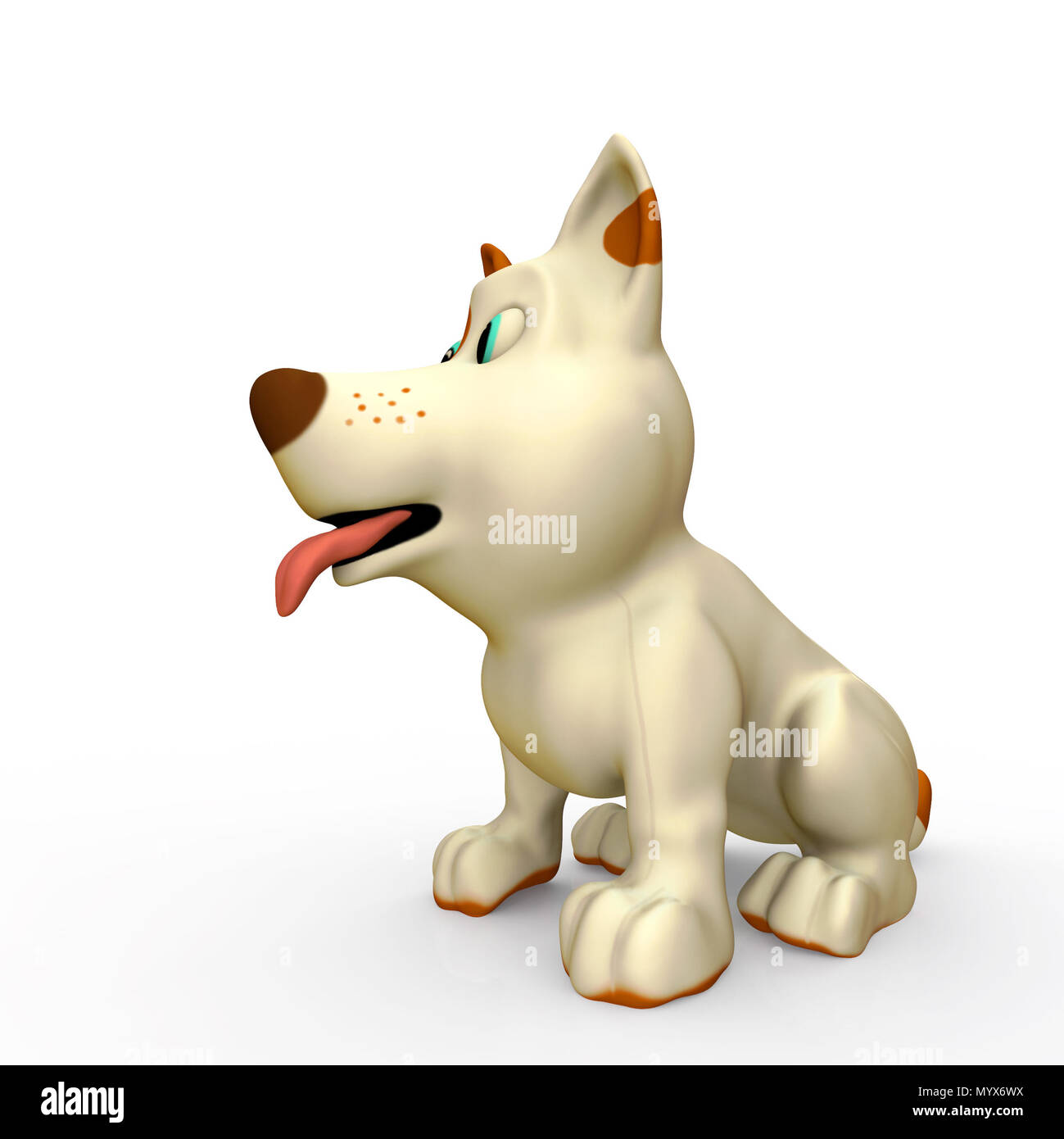 Cute dog on white background with shadow. 3D render illustration Stock Photo