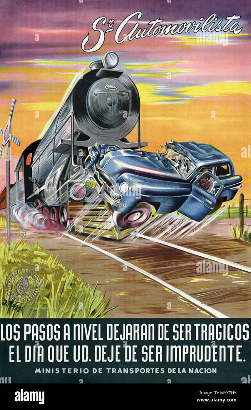 . English: Road safety campaign to prevent rail accidents. Advertising by the Ministry of Transport of Argentina.  . 1948. Unknown 1 Aviso campana seguridad vial Stock Photo