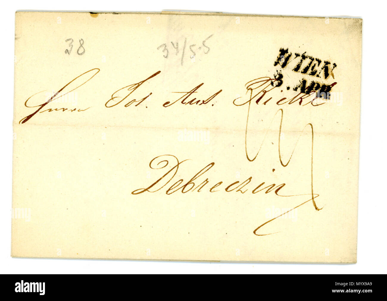 . English: Folded letter sent from Vienna to Debreczin (Hungary) in 1838, linear postmark.  . 3 April 1838. Jacquesverlaeken 1 1838 Postmark Wien Linear - Stock Image