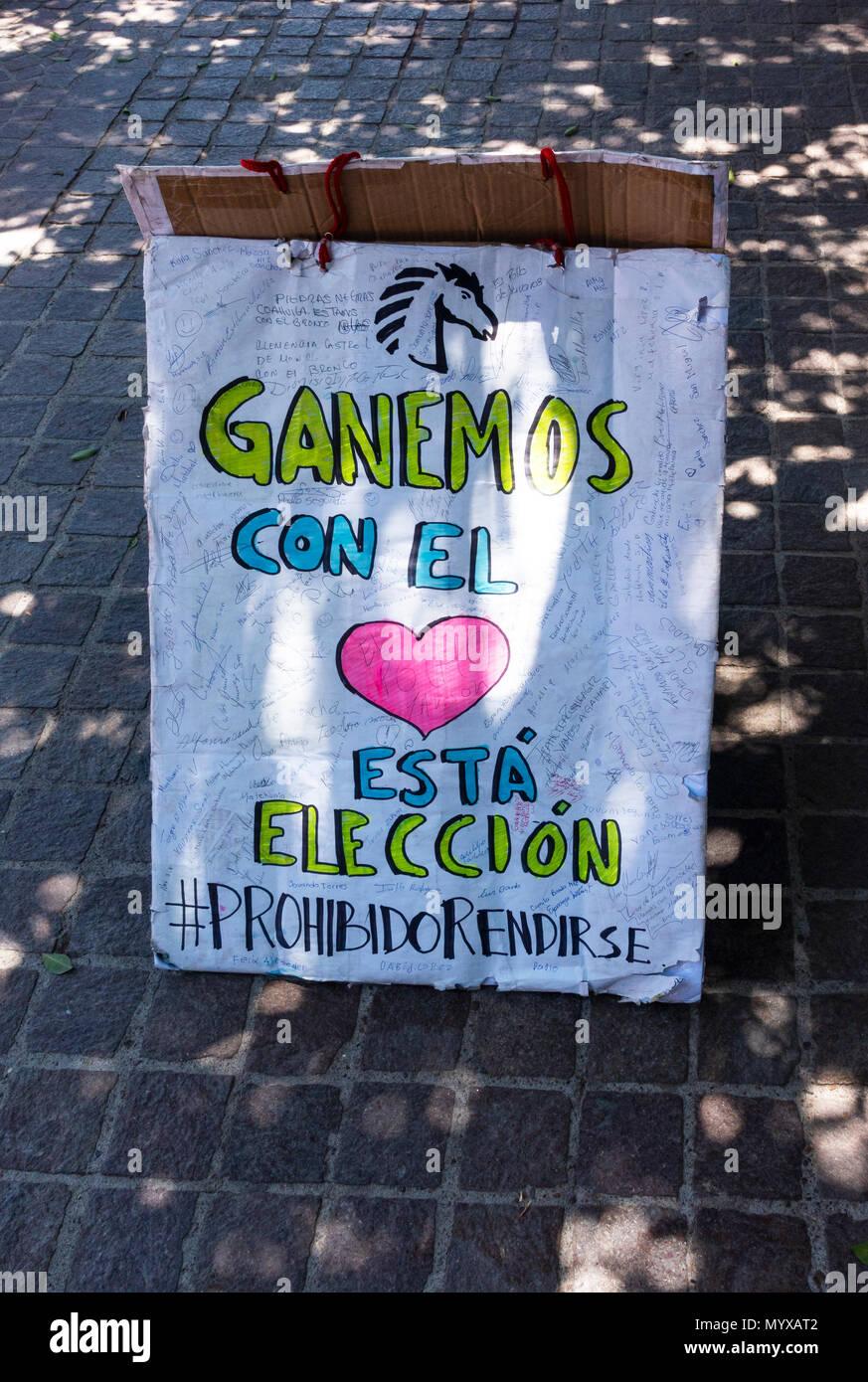 Political posters in La Jardin in the center of San Miguel de Allende, Mexico - Stock Image