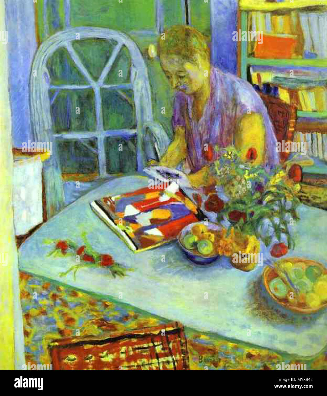 .  English: Painting by Pierre Bonnard  . After 1923.    Pierre Bonnard (1867–1947)   Alternative names P'er Bonnar; Pierre Eugène Frédéric Bonnard; Pierre Eugene Frederic Bonnard; p. bonnard; bonnard p.; Bonnard  Description French painter, sculptor, engraver and graphic artist  Date of birth/death 3 October 1867 23 January 1947  Location of birth/death Fontenay-aux-Roses Le Cannet  Work location France, United States of America, North Africa  Authority control  : Q26408 VIAF:?66499977 ISNI:?0000 0001 0910 3856 ULAN:?500115555 LCCN:?n79040127 NLA:?35020171 WorldCat 6 A-woman-in-a-room-192 - Stock Image