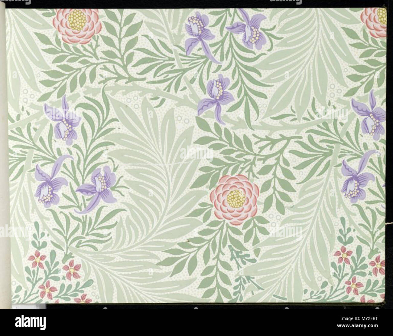 Wallpaper Sample Book 1, page 42: Larkspur, pattern #438 . between 1915 and 1917 17 Brooklyn Museum - Wallpaper Sample Book 1 - William Morris and Company - ...