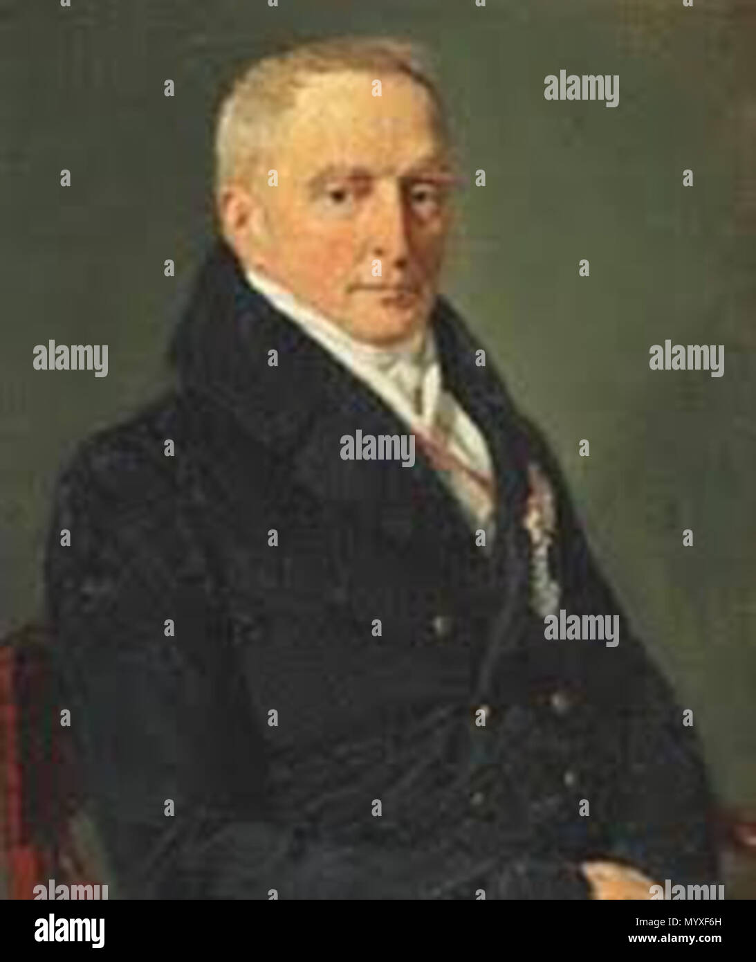 . English: Portrait of Privy Councillor, chamberlain Carl Emil count Moltke (1773-1858) , 1837  . 1 Unknown. Christian Albrecht Jensen 19 Carl Emil Moltke - Stock Image