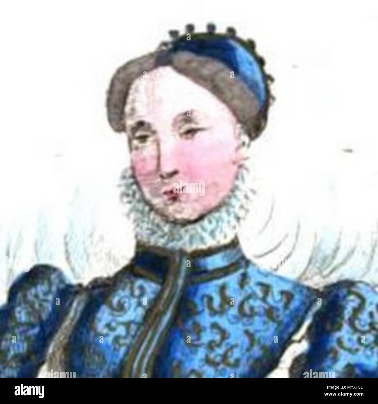 English Portrait of Catherine Des Roches from Costumes historiques de la  France Français  Portrait de Catherine Des Roches tiré de Costumes  historiques de