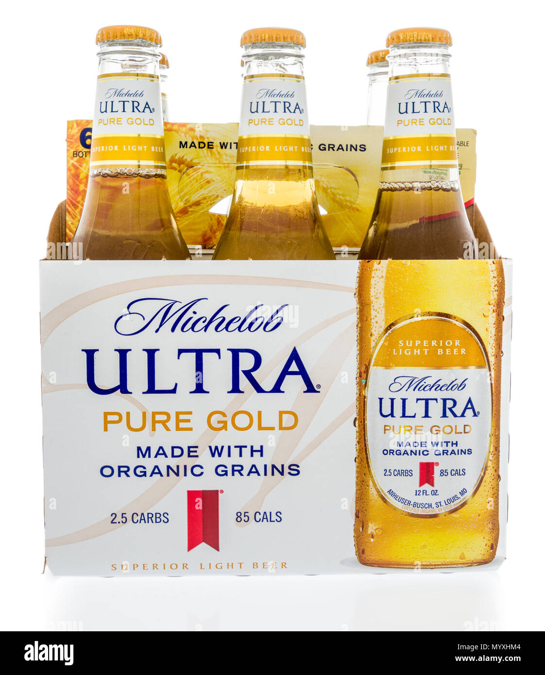 Winneconne, WI   26 May 2018: A Six Pack Of Michelob Ultra Pure Gold