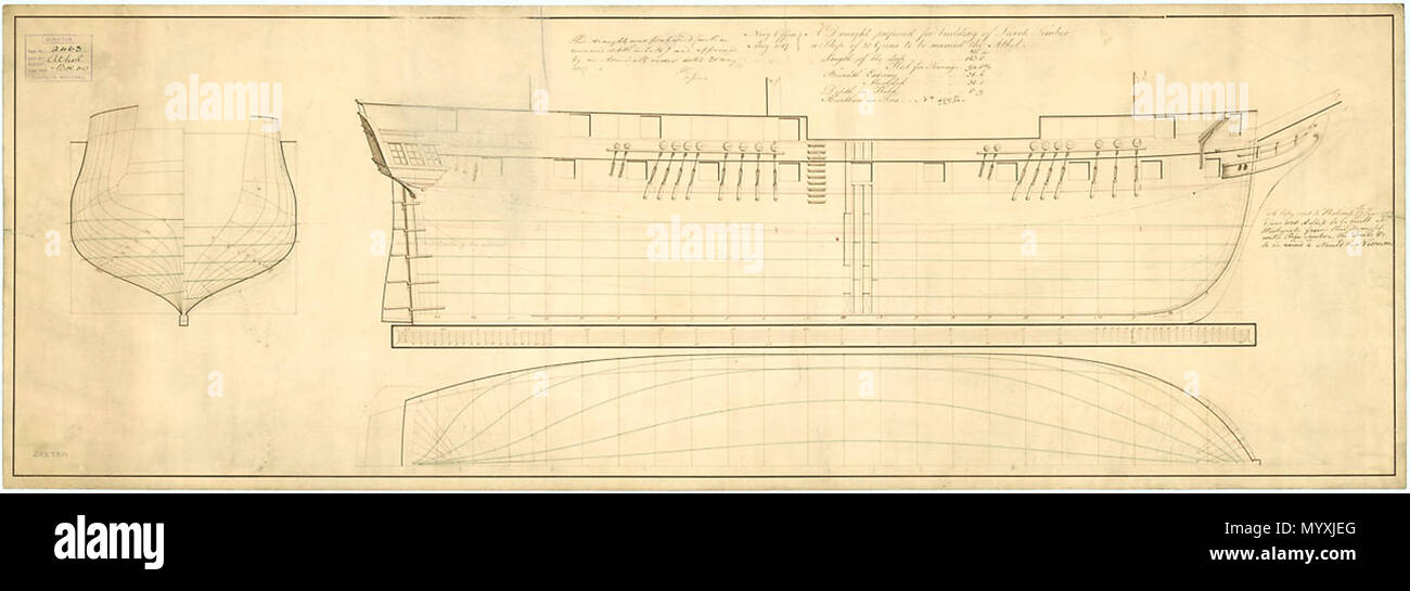 .  English: Athol (1820), Niemen (1820) Scale 1:48. Plan showing the body plan, sheer lines with corrected deck heights and longitudinal half breadth for building Athol (1820), a 28-gun, Sixth Rate Sloop, of Lach at Woolwich Dockyard, and in 1818, another ship of Riga Timber (fir) was ordered, with the decks raised by four inches for the Niemen (1820), a 28-gun, Sixth Rate Sloop. Annotation on right: 'A Copy sent to Woolwich 17th June 1817. 1st June 1818 A Ship to be built at Woolwich from this Draught with Riga Timber, the Decks etc to be raised 4inches. Named the Niemen.' ATHOLL 1820  . May  - Stock Image