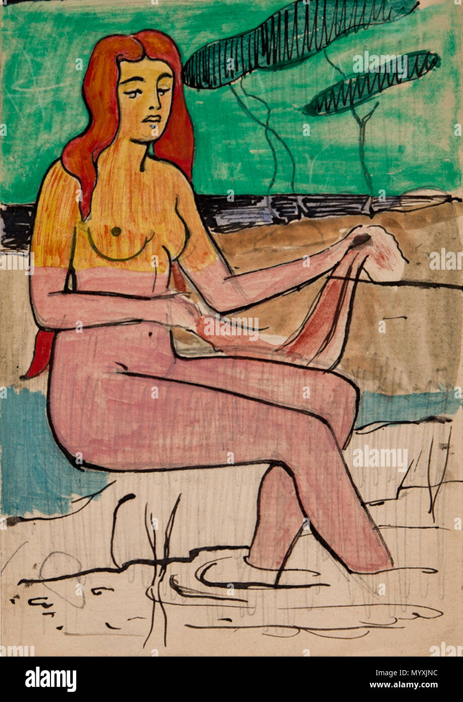 . English: The Bather, possibly Tahitian. Pencil, ink and watercolour on reverse of form advertising violin lessons given by Leonard Forbes-Robertson, 25 Charlotte Street. Circa 1893. Provenance: Artist's family descent. 6.5x4.5 inches.  . after 1936.   Eric Forbes-Robertson (1865–1935)  Alternative names Eric J. Forbes-Robertson; Eric Robertson; Eric Forbes Robertson; Eric Forbes- Robertson  Description painter  Date of birth/death 1865 1935  Work location London  Authority control  : Q5386499 VIAF:?96603147 ULAN:?500124855 RKD:?28604 34 Forbes-Robertson-9511 - Stock Image