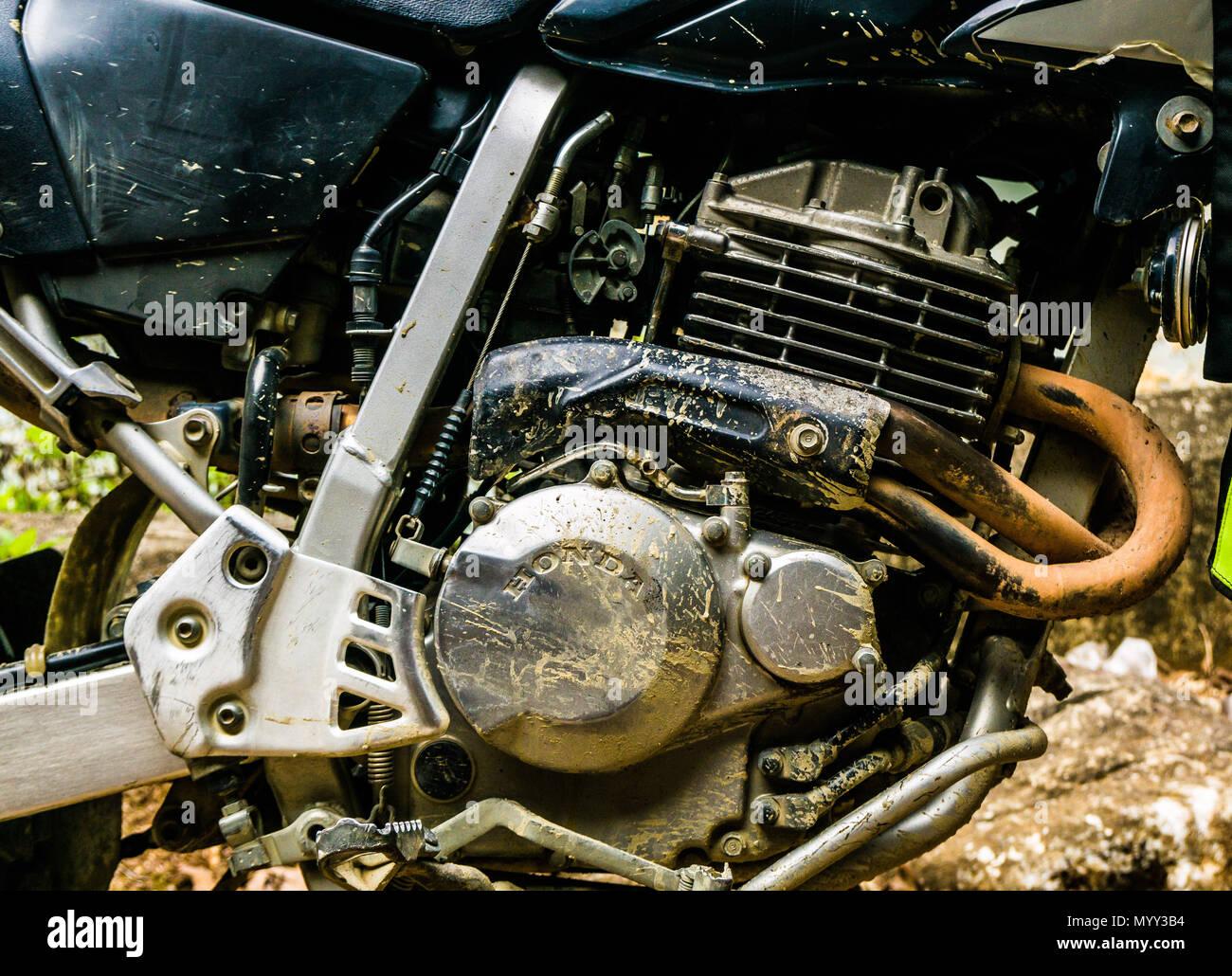A dirt-bike engine close up.  A Honda XR250 - Stock Image