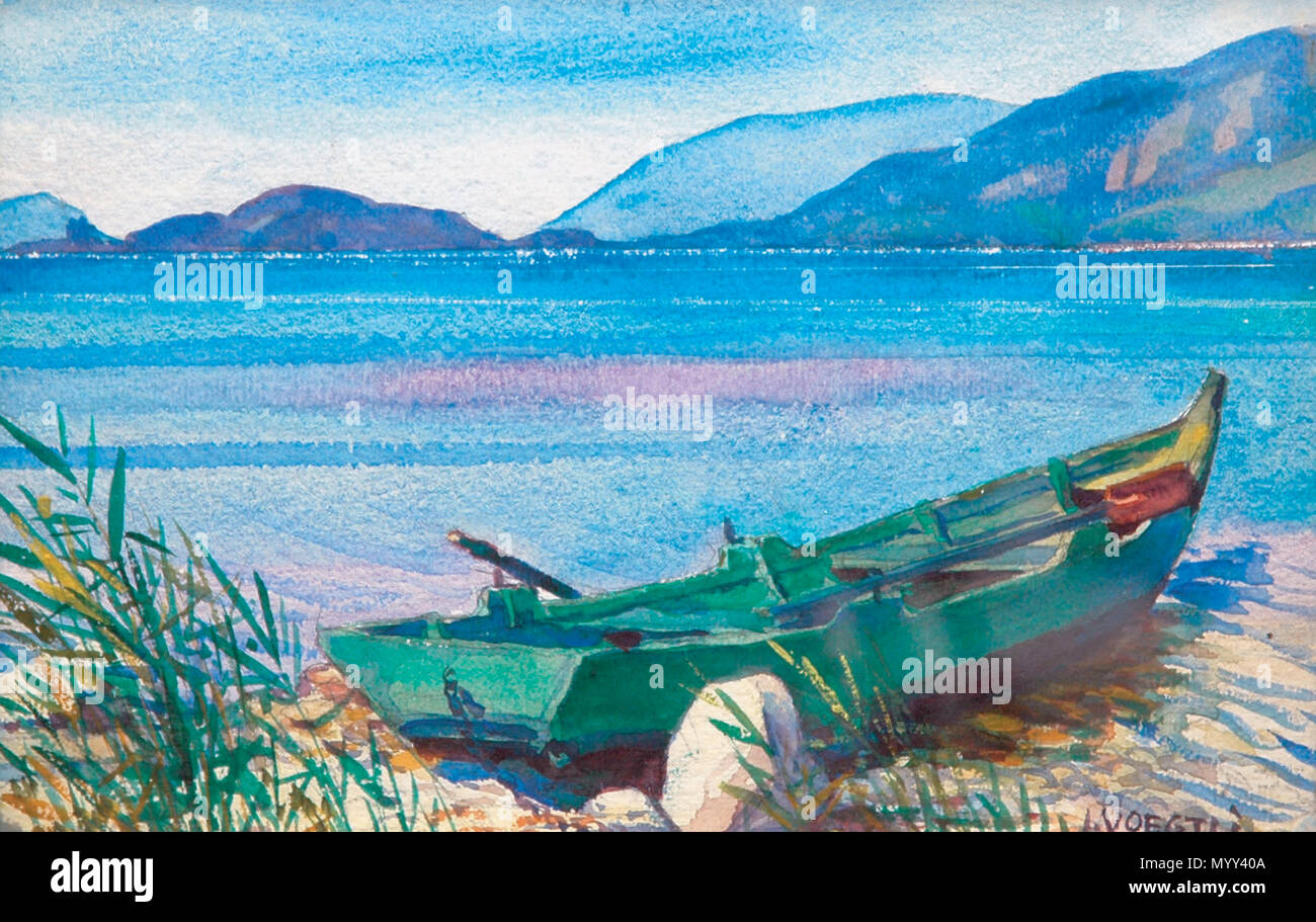 .  Deutsch: Julius Voegtli, Landschaftsbild Am Bielersee  . 31 December 2016 56 Julius Voegtli, Am Bielersee - Stock Image