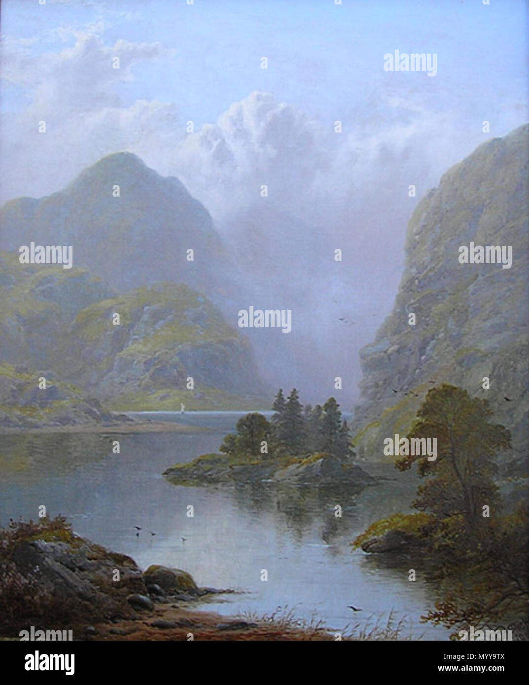 . Deutsch: Loch Goil, Scotland. Oil on canvas, 20.0' x 16.0'  . by 1938. George Blackie Sticks (1843-1938) 40 George Blackie Sticks Loch Goil Stock Photo