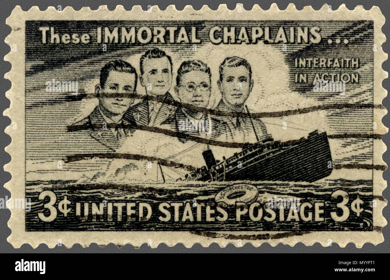 Immortal Chaplains Interfaith In Action Postage Stamp - Stock Image