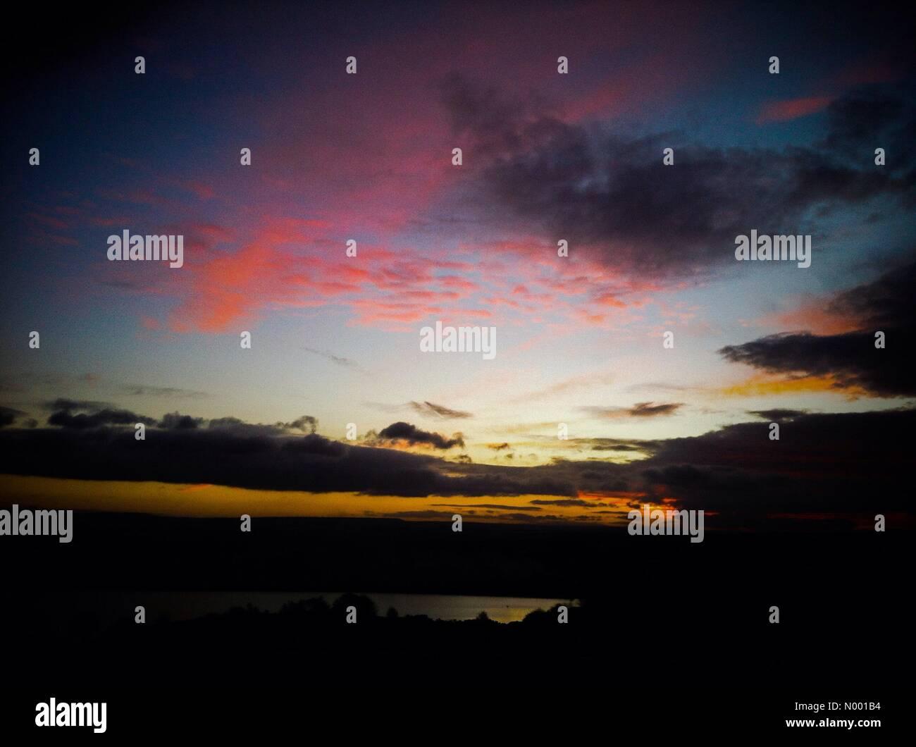 West Yorkshire, UK. 04th Feb, 2015. Sunset over Baildon Moor, West Yorkshire Credit:  Alan/StockimoNews/Alamy Live - Stock Image