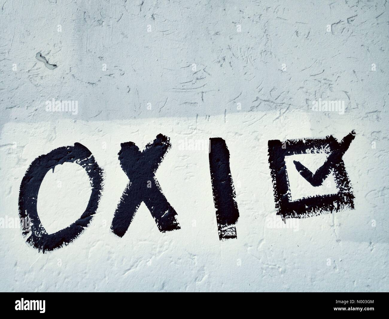 Oxi (No), graffiti on a wall in the Berlin district of Kreuzberg calling for a 'No' in the bailout referendum - Stock Image