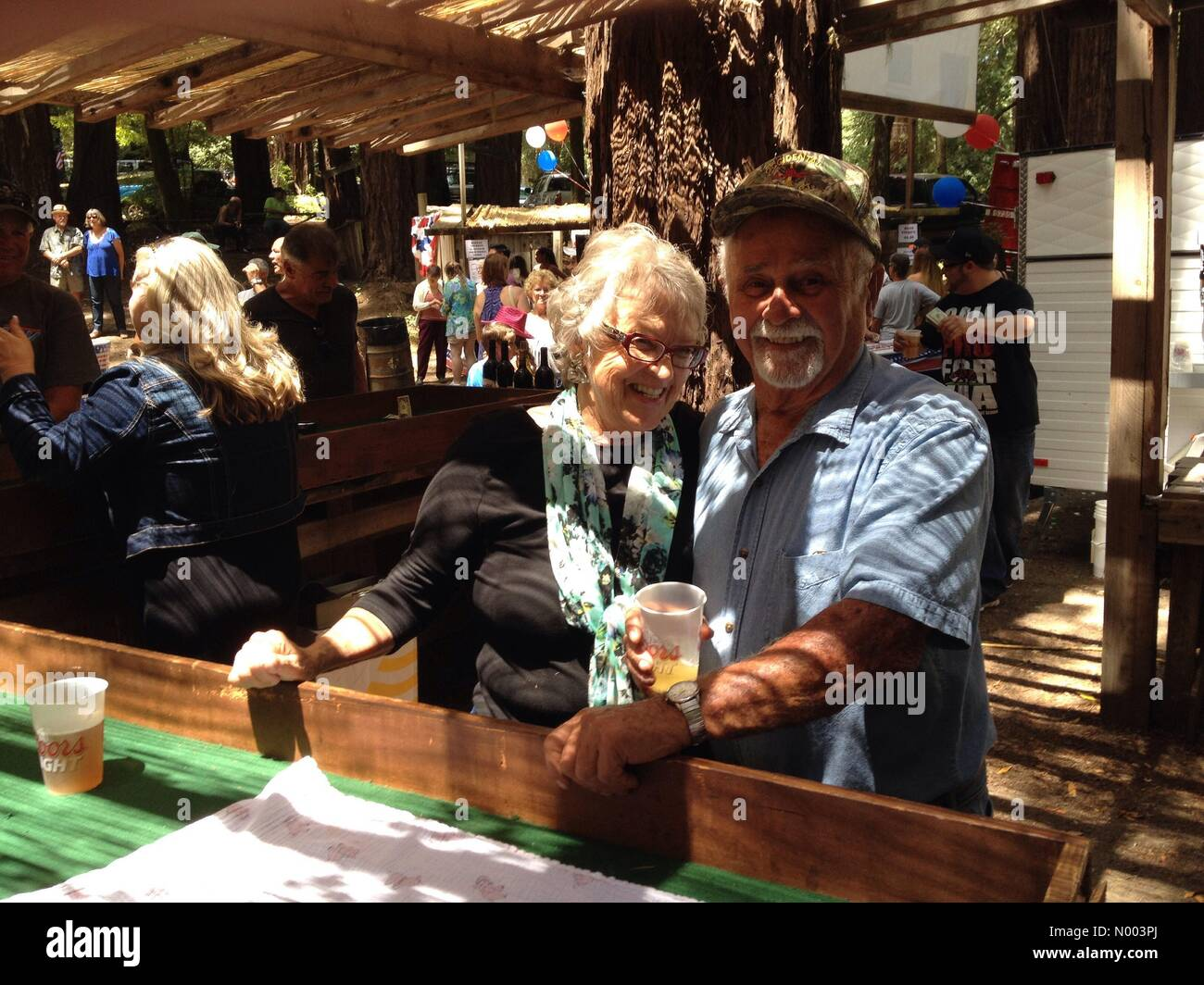 California, USA. 19th July, 2015. Two volunteers man the dice table at the Occidental Volunteer Fire Department - Stock Image