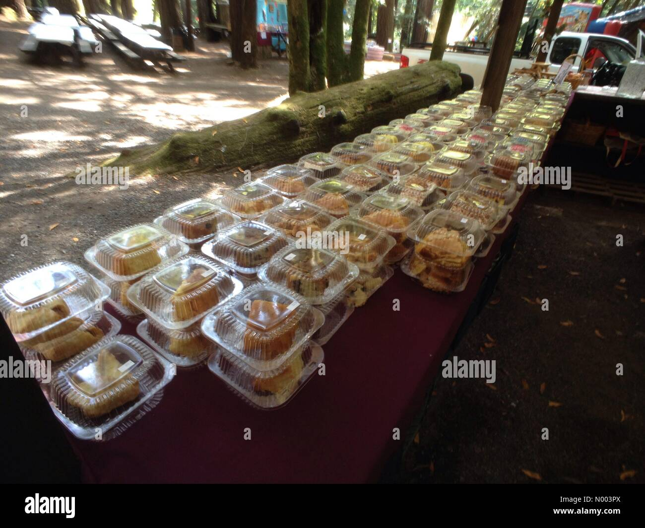 California, USA. 19th July, 2015. Desserts are stacked up and ready for sale at the annual Occidental Volunteer - Stock Image