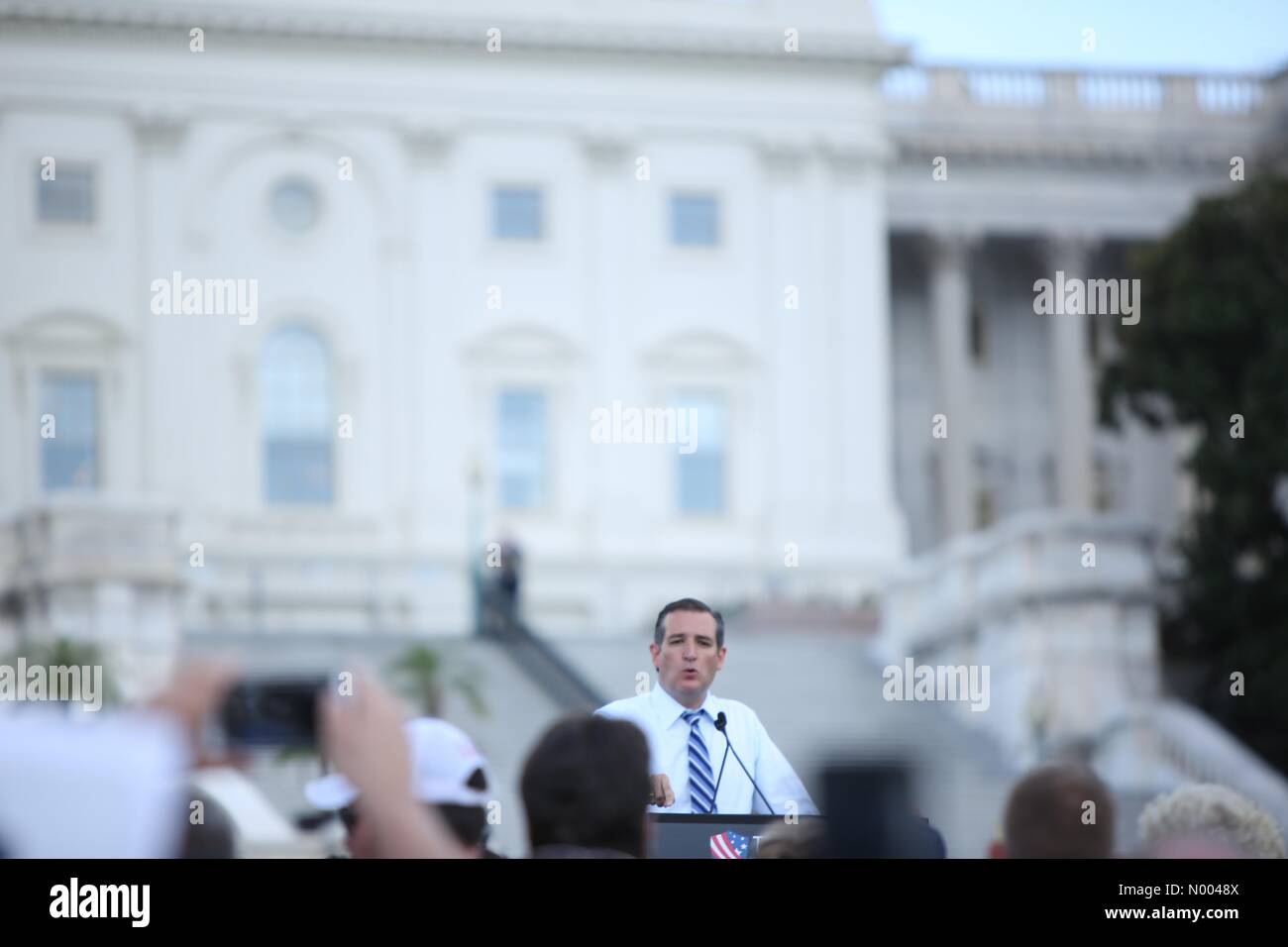 Washington, DC, USA. 09th Sep, 2015. Ted Cruz speaks at the rally against the Iran nuclear deal on the West Lawn Stock Photo