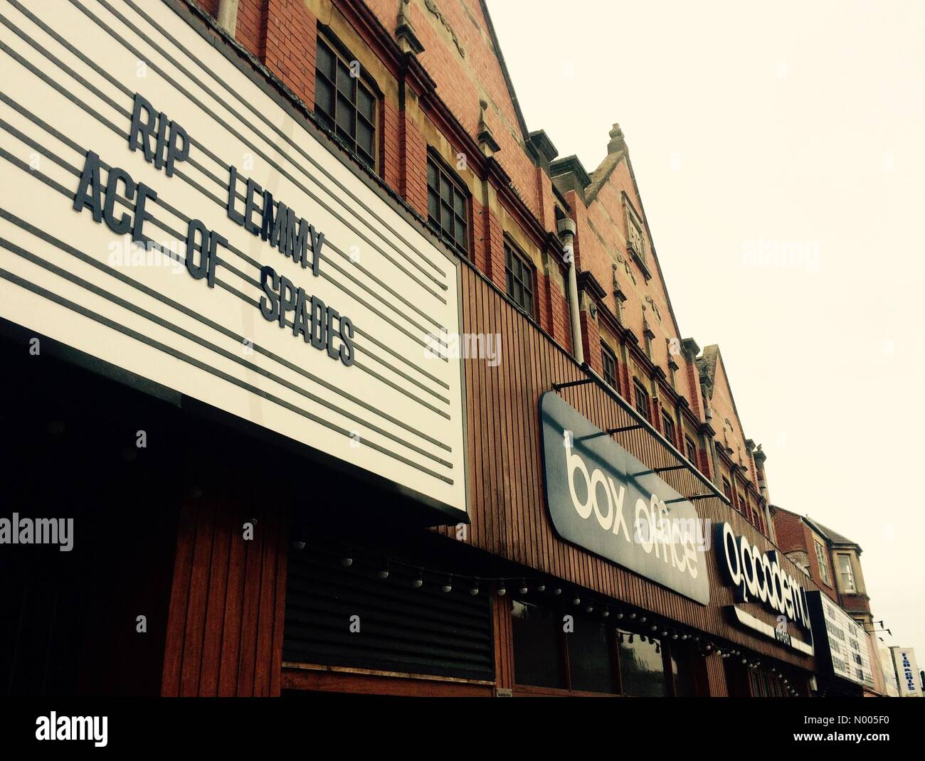 Oxford, UK. 30th Dec, 2015. Tribute to Motorhead frontman Lemmy Kilmister at Oxford's O2 Academy on Cowley Rd, - Stock Image