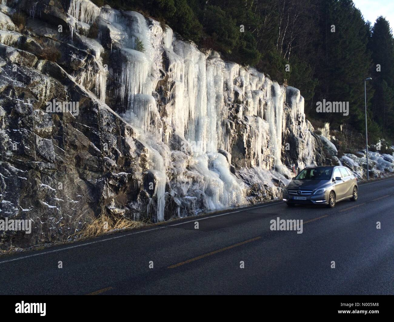 EUweather: Nordic countries frozen after long cold period; Beautiful icicles hanging on the side of the road this - Stock Image