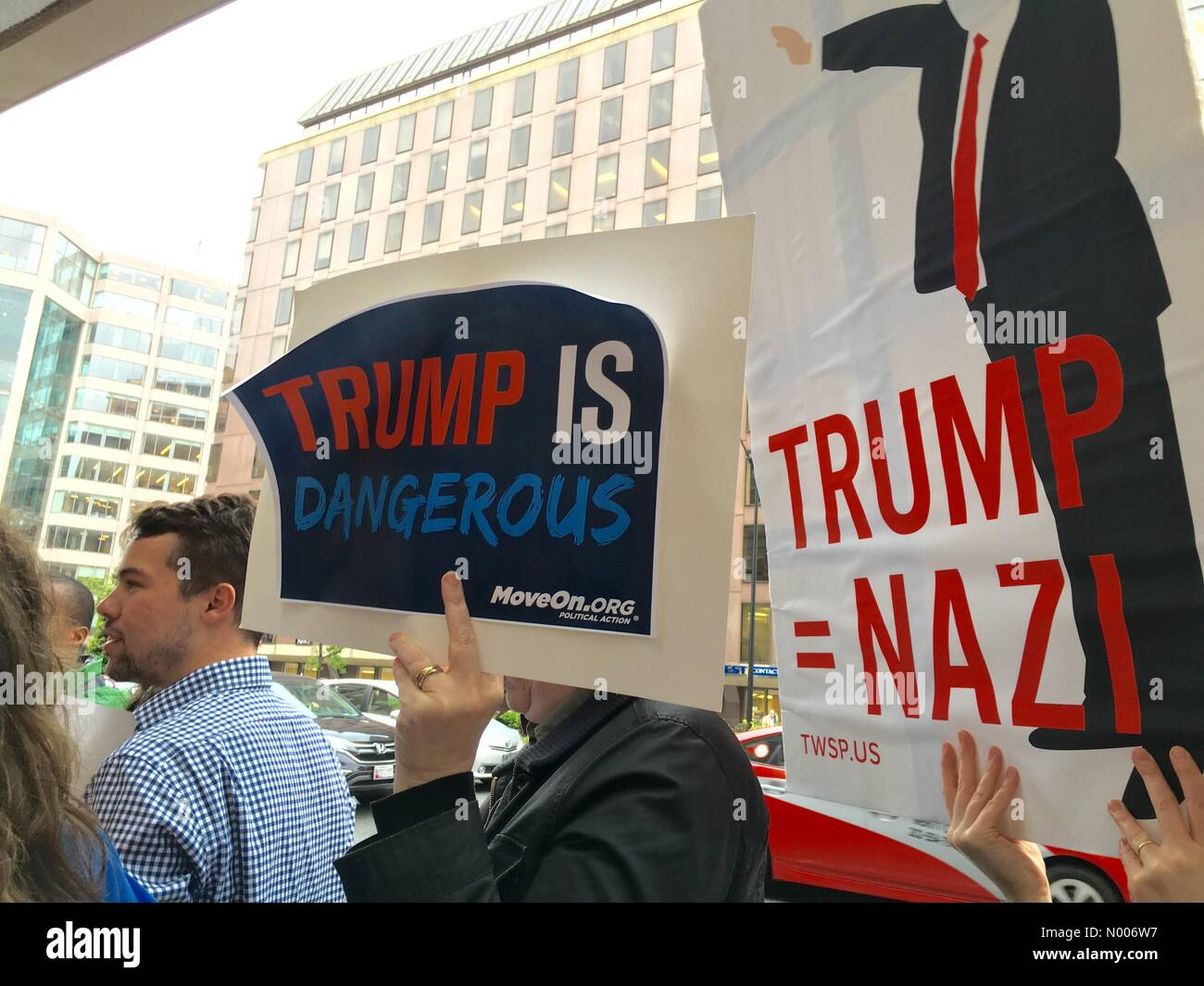 Anti-Trump Rally outside of the Mayflower Hotel in Washington, DC where Donald Trump is about to speak on 27th April, - Stock Image