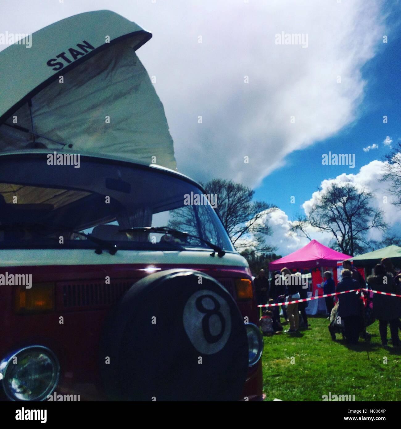 Godalming, Surrey, UK. 30th Apr, 2016. UK Weather 30th April 2016: A cumulonimbus cloud looming over the town fete - Stock Image
