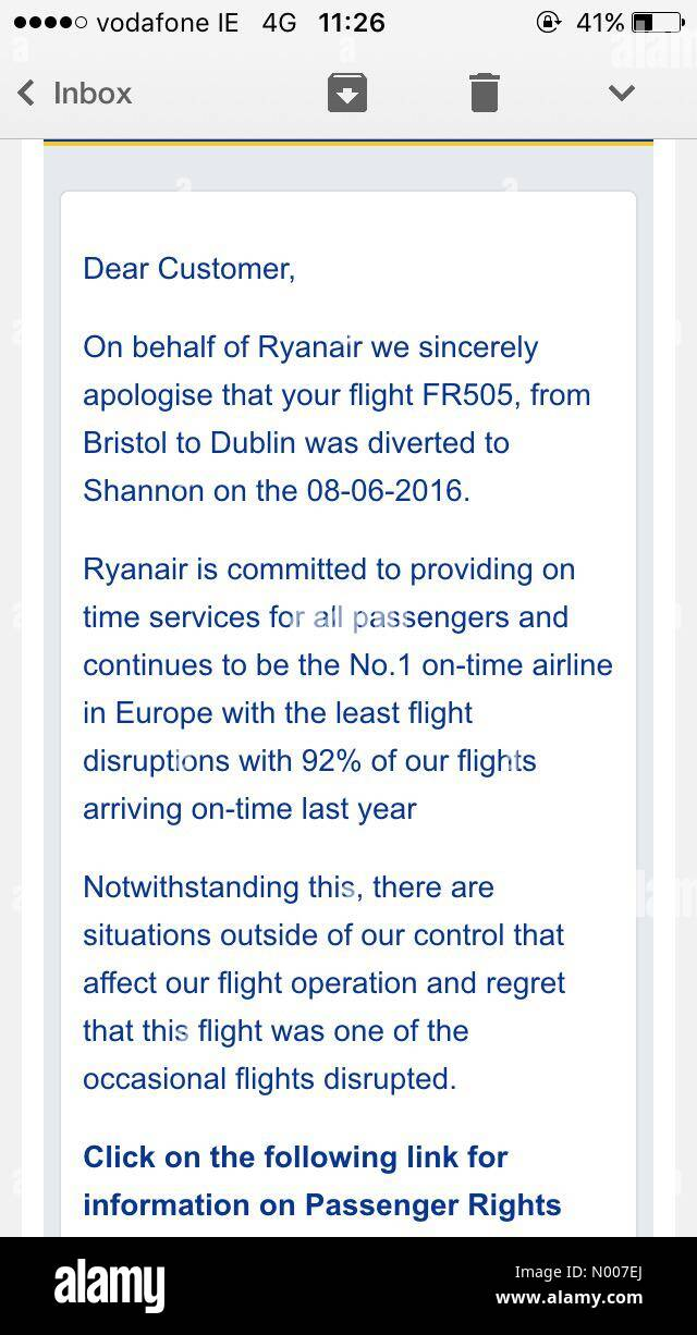 Message texted to passengers aboard Ryanair flight FR505 diverted to