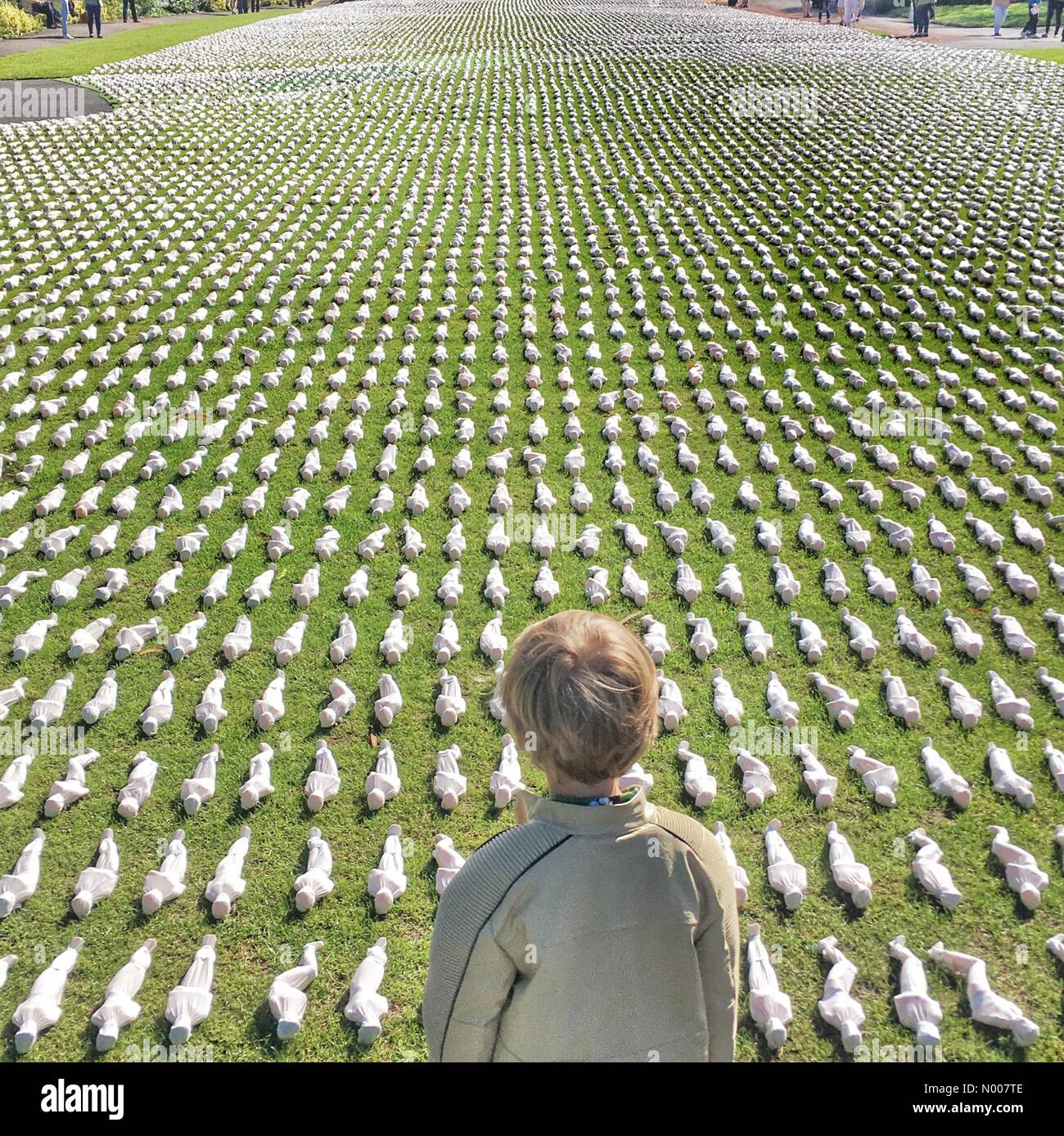 Exeter, Devon, UK. 02nd July, 2016. Child looks out over '19240 shrouds of the Somme' in Northernhay Gardens, - Stock Image