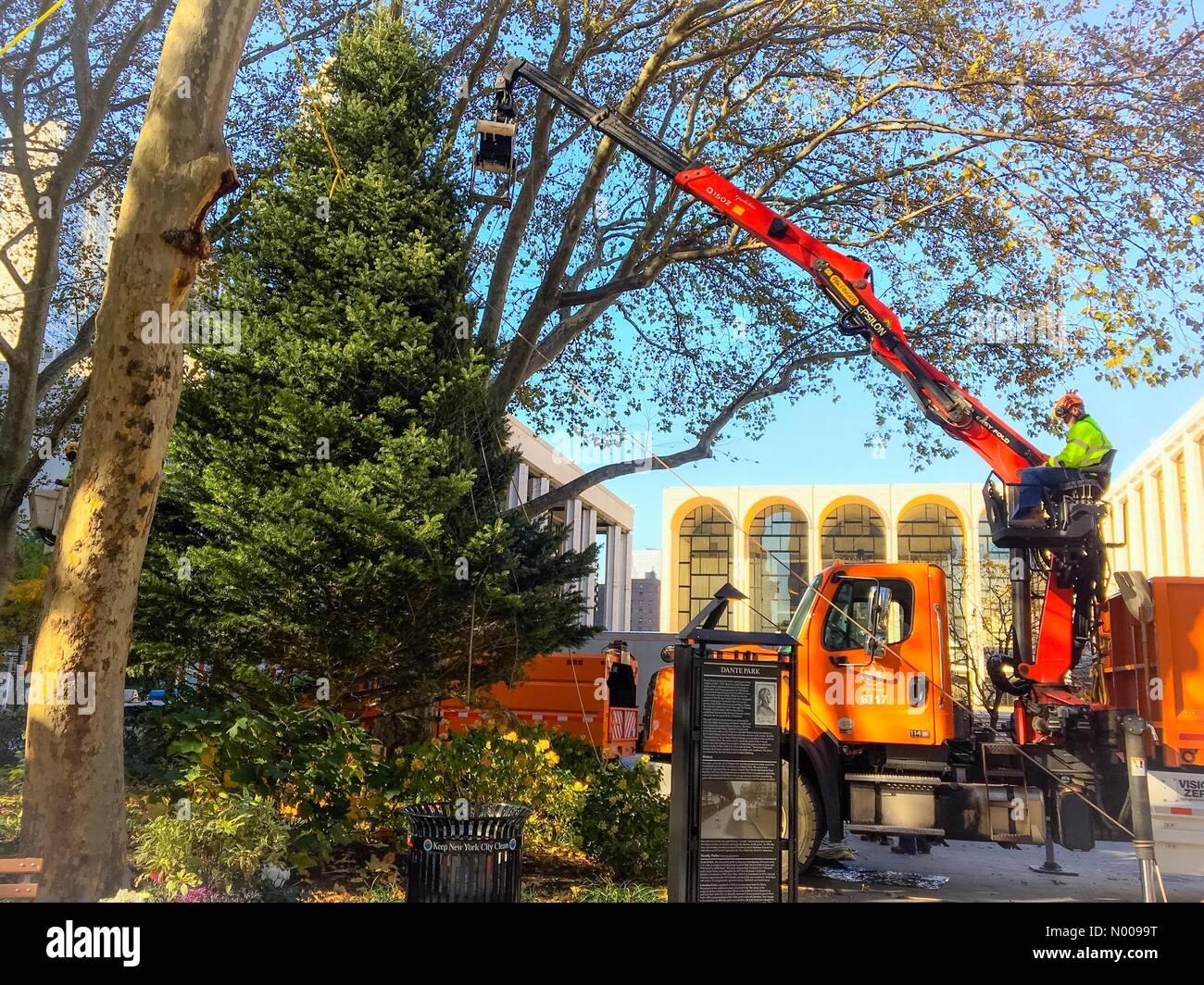 New York, USA  14th Nov, 2016  Workmen put up the Christmas
