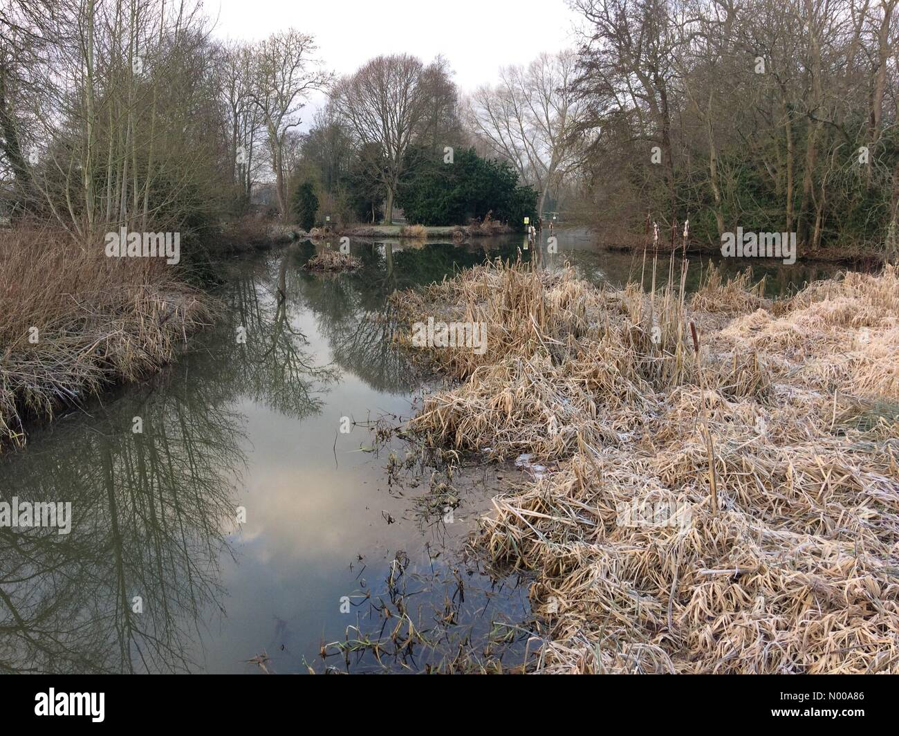 Barcombe Mills, East Sussex. 6th January 2017. Cold weather continuing to grip the UK after another cold night. - Stock Image