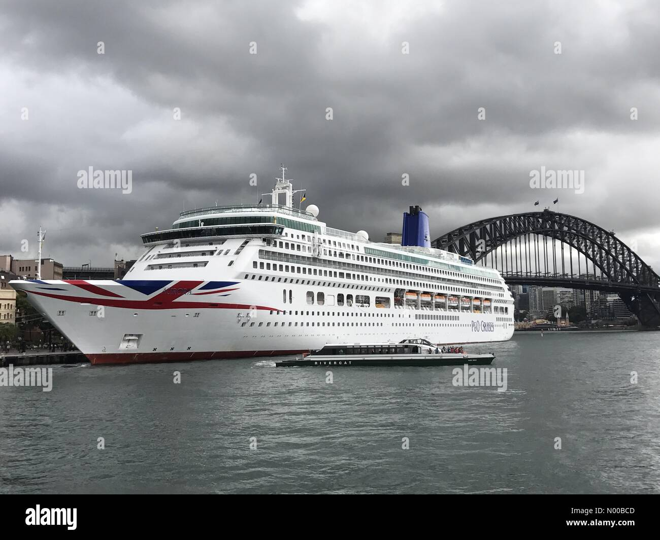 Sydney NSW, Australia. 03rd Mar, 2017. The Aurora cruise ship moored at the Overseas Passenger Terminal in Sydney, - Stock Image