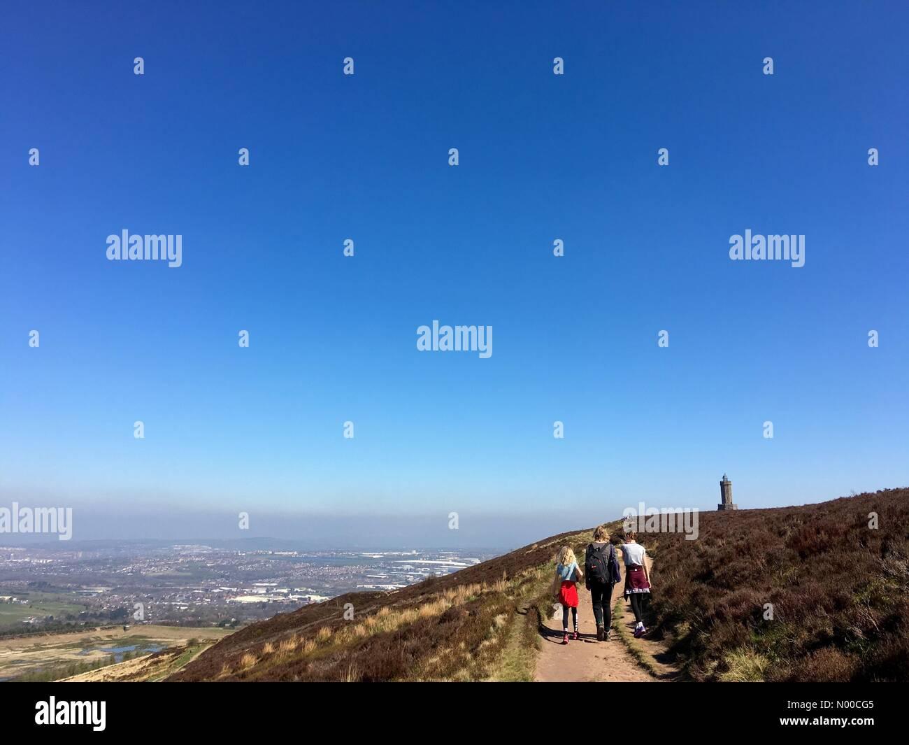 Uk Weather Day In Blackburn Lancashire Blue Sky Above Darwen Tower On The Moors Above Blackburn