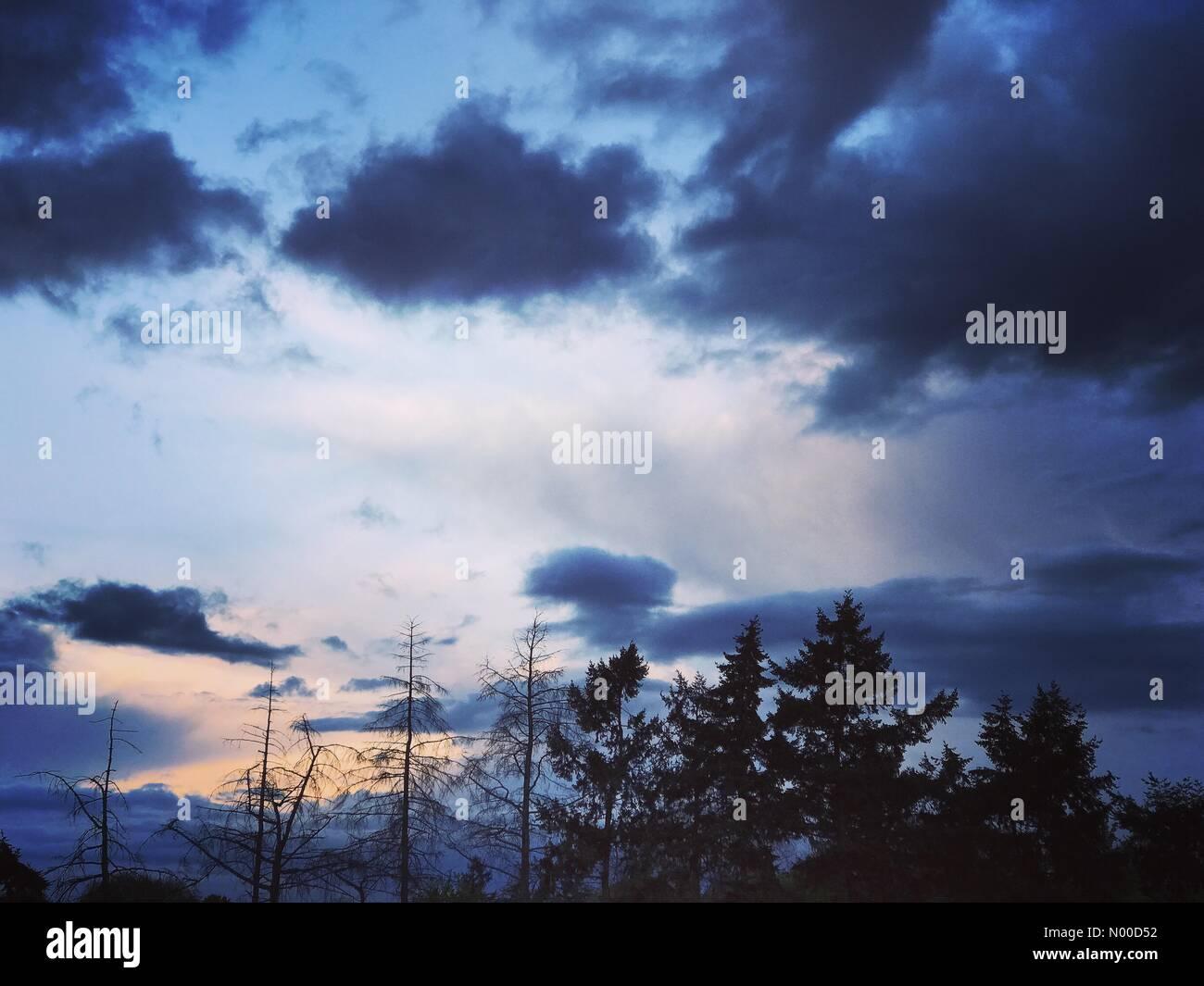 Tuesley Ln, Godalming, UK. 25th Apr, 2017. UK Weather: Storm clouds over Godalming. Tuesley Farm, Godalming. 25th - Stock Image