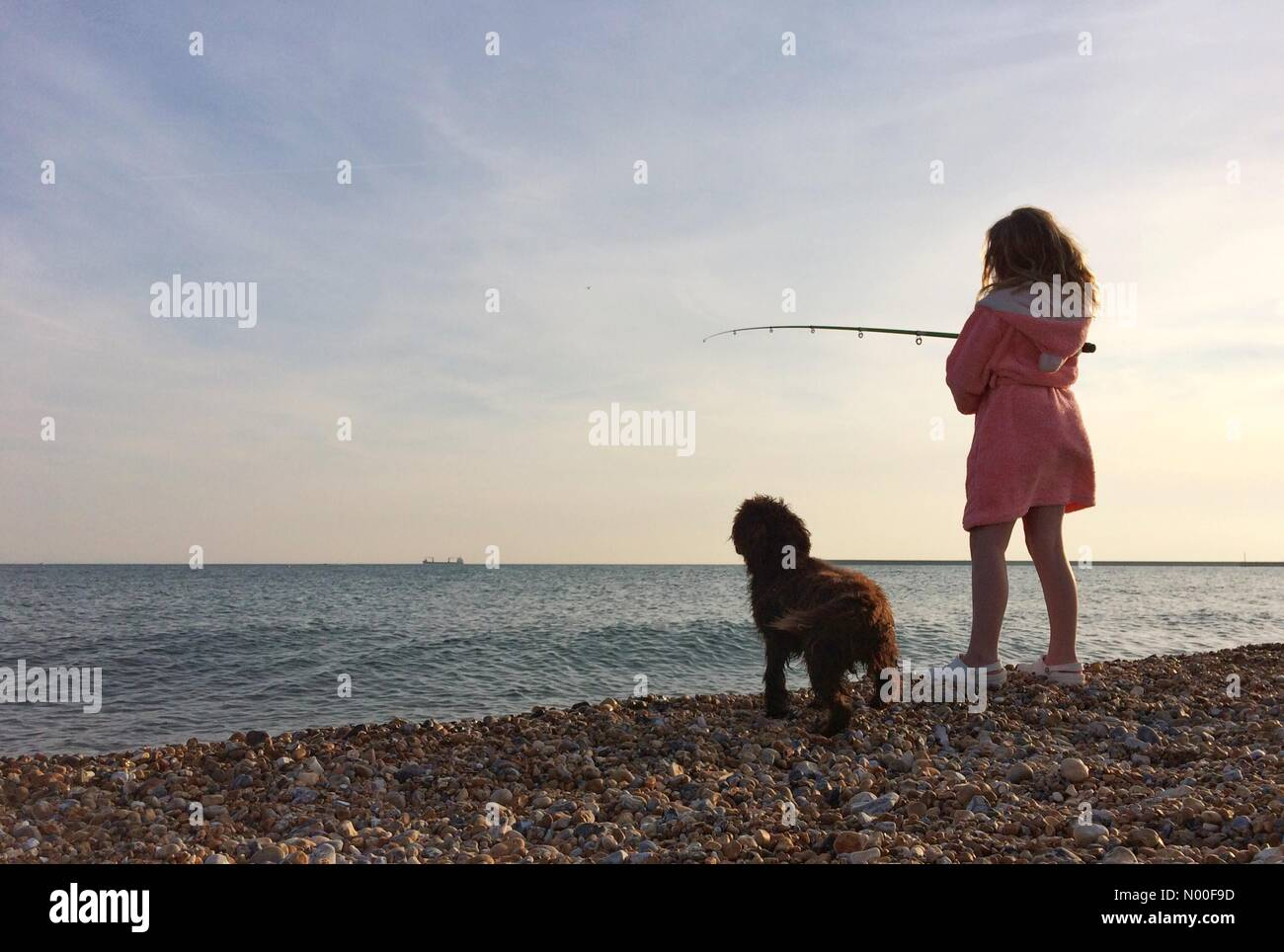Seaford, East Sussex. 20th June 2017. A girl in a pink dressing gown fishing on the beach with her dog at the end - Stock Image