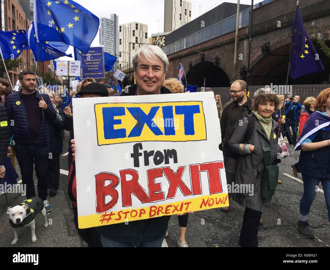 Stop Brexit march  - Manchester 1st October 2017- Anti Brexit demonstrators gather near the Conservative Party Conference Stock Photo