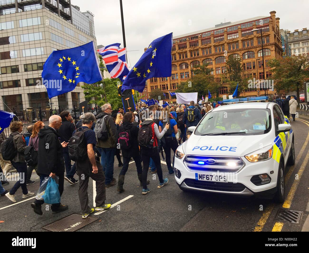 Stop Brexit march  - Manchester 1st March 2017 - Anti Brexit demonstrators gather near the Conservative Party Conference Stock Photo
