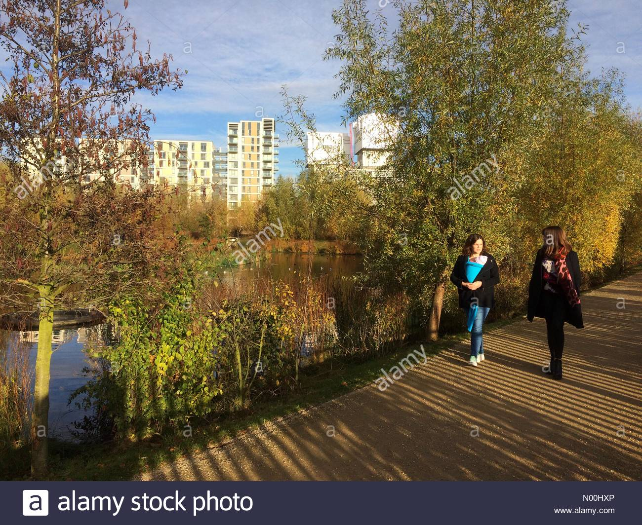 UK Weather, London, UK. 19th November 2017. People enjoying sunny weather at Queen Elizabeth Olympic Park in Stratford. - Stock Image