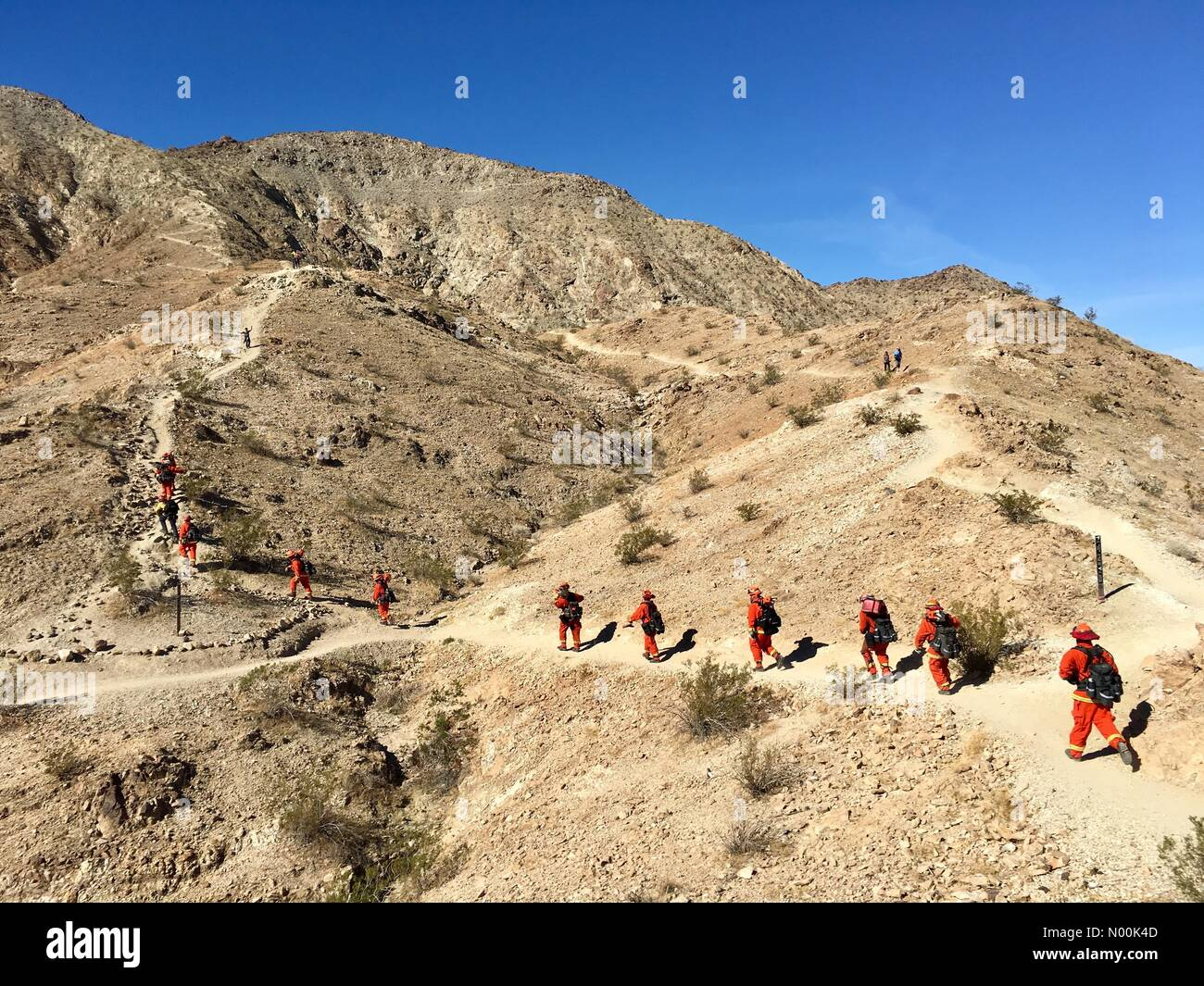 Palm Desert, California USA 26 January 2018 Prison inmates from the Oak Glen Conservation Camp in Yucaipa, California - Stock Image