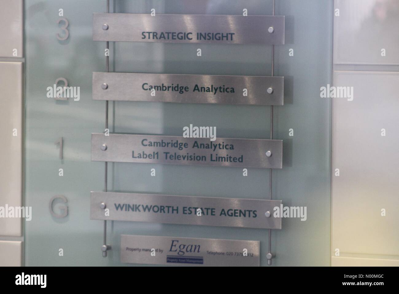 Offices of Cambridge Analytica as Information Commissioner seeks warrant to search. New Oxford Street, London. 20th - Stock Image