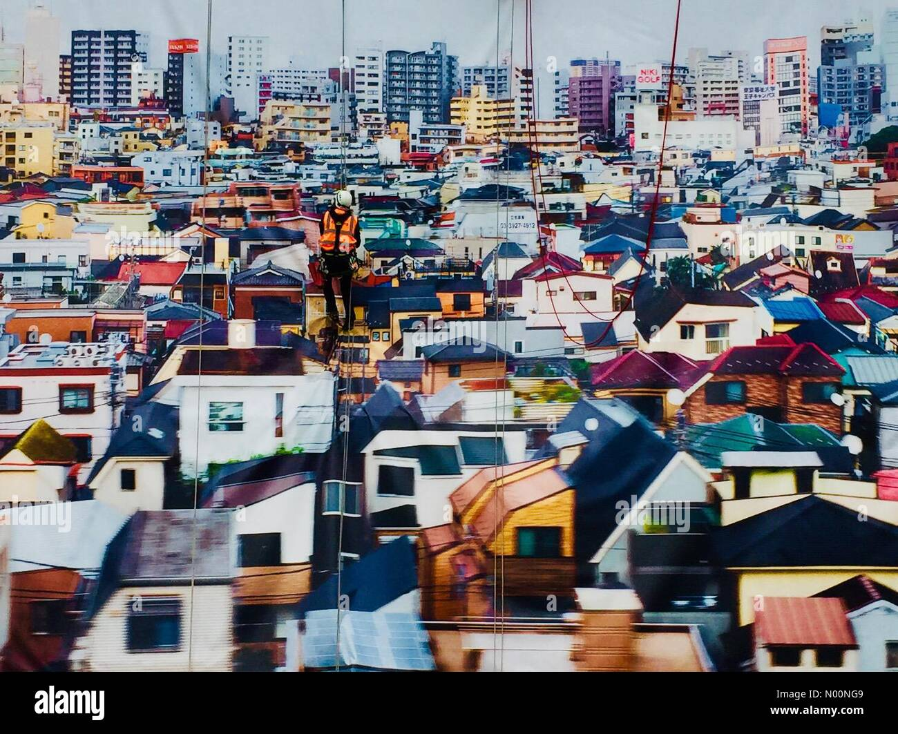 London, UK. 23rd April, 2018. Taking down the Andres Gursky image on the wall of the Hayward Gallery Credit: Step/StockimoNews/Alamy Live News Stock Photo