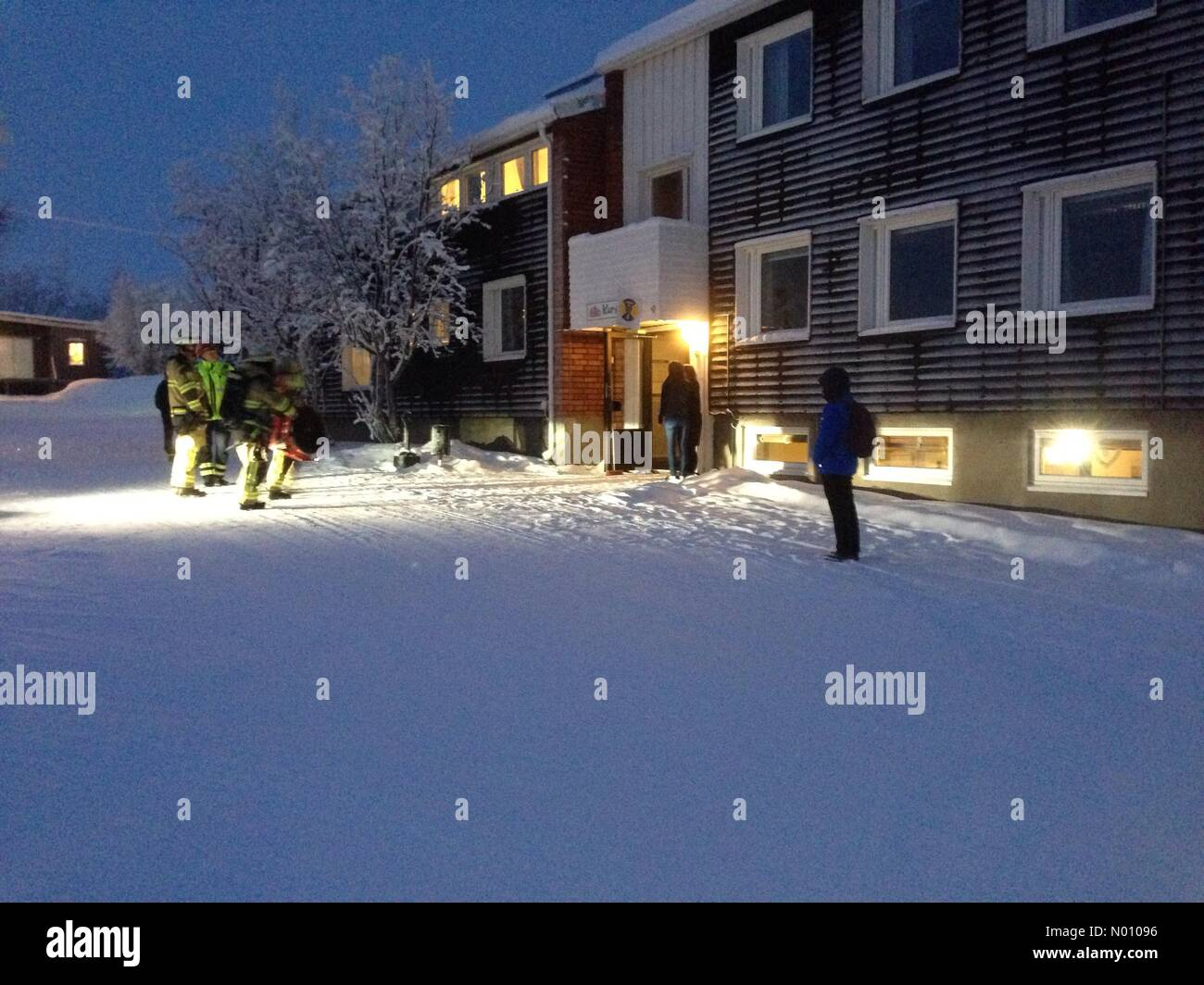 Kiruna, Sweden. 29th Jan 2019. Hostel in Kiruna Sweden evacuated in -20 degrees do to fire alarm. Fire service arrived to vent smoke from a guest kitchen Credit: JHpics/StockimoNews/Alamy Live News - Stock Image