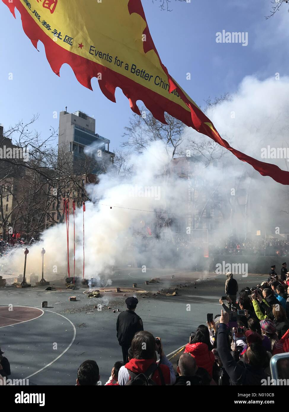New York City, NY, USA- February 5, 2019: Spectators gather in Sara D. Roosevelt Park to watch the firecrackers explode to celebrate the Chinese New Year. Credit: TD Dolci/StockimoNews/Alamy Live News Stock Photo