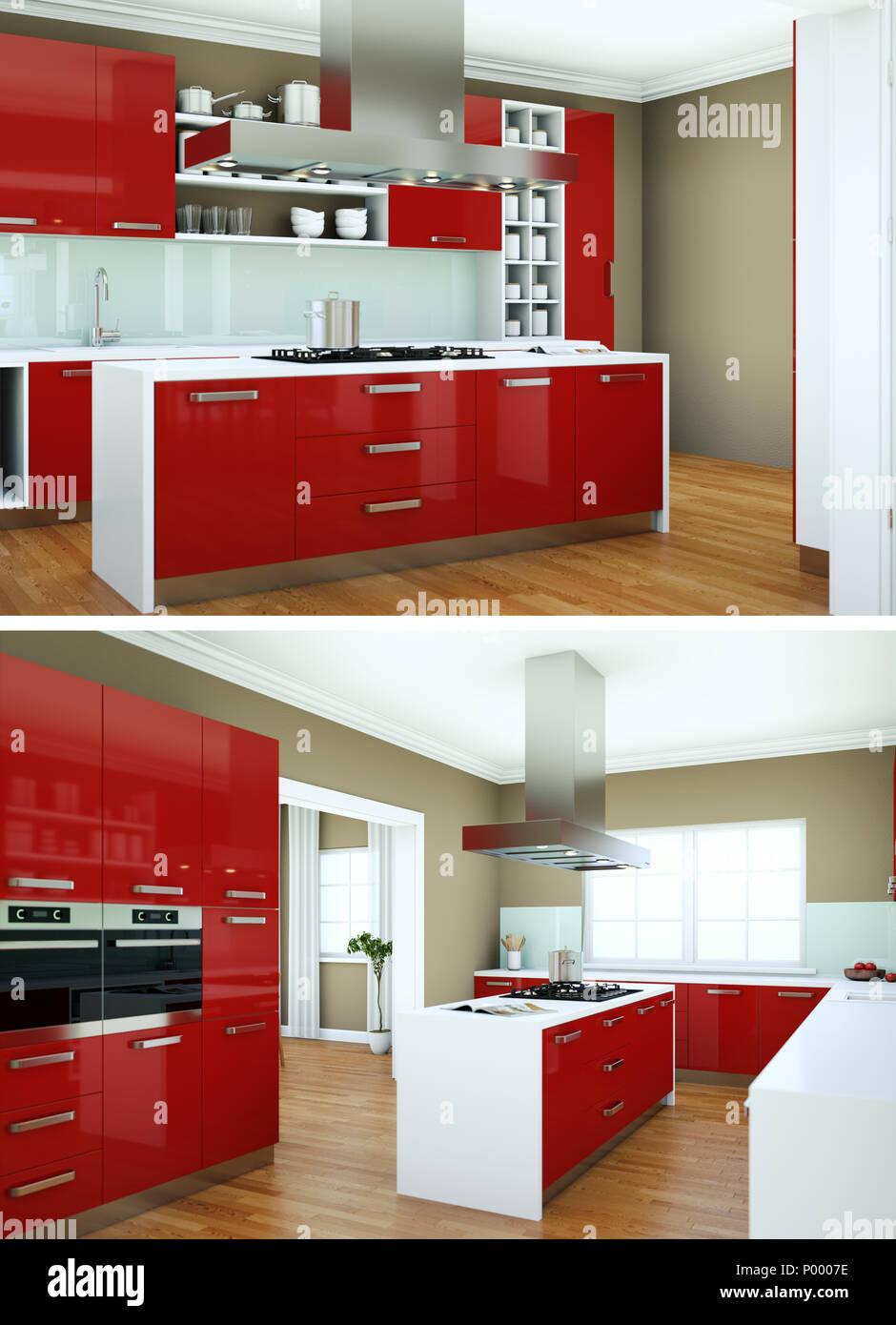 Two views of modern red kitchen Interior design Stock Photo - Alamy